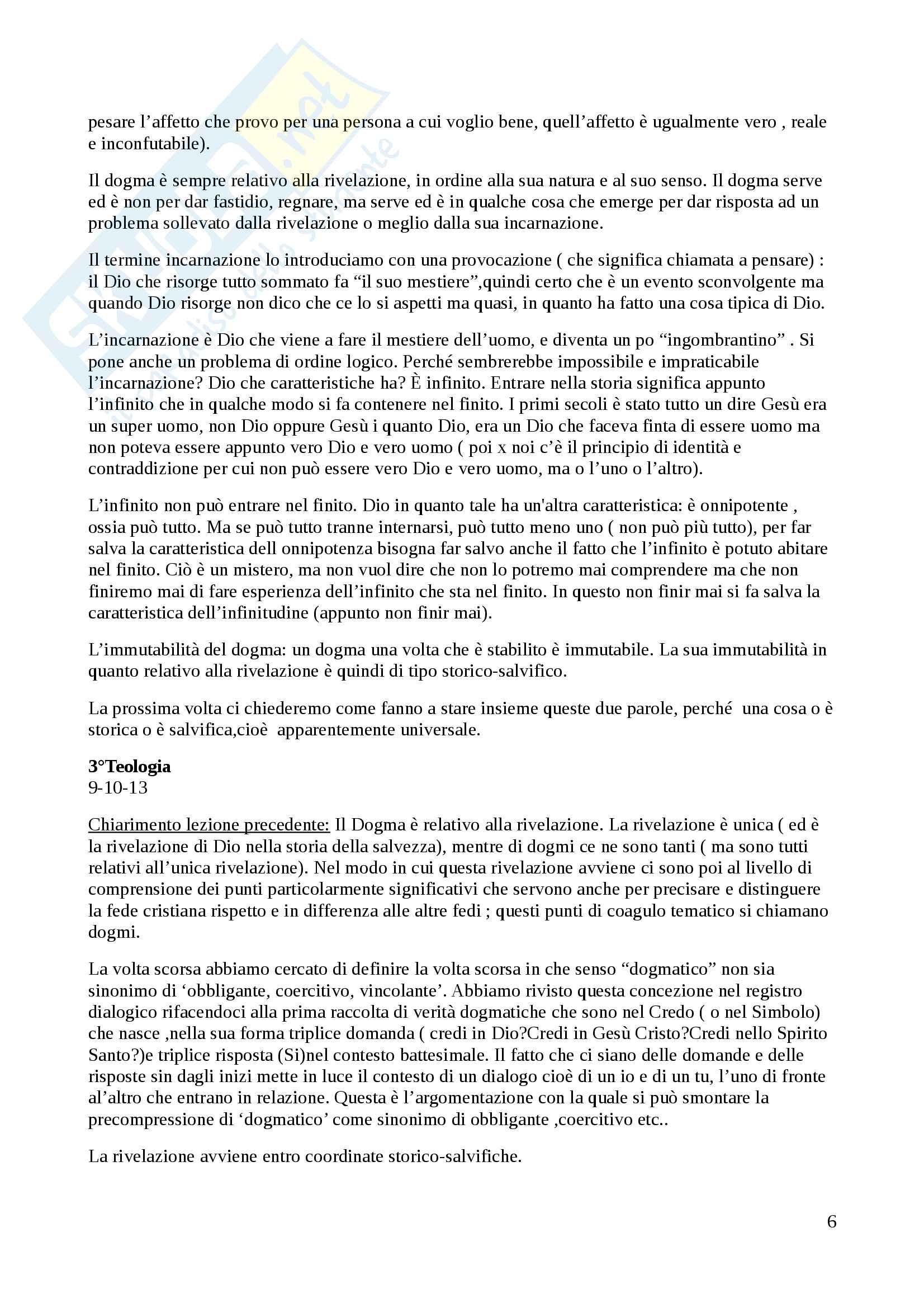 Riassunto esame Teologia Dogmatica, Prof. Falchetto, libro consigliato Introduzione al Cristianesimo,Ratzinger Pag. 6