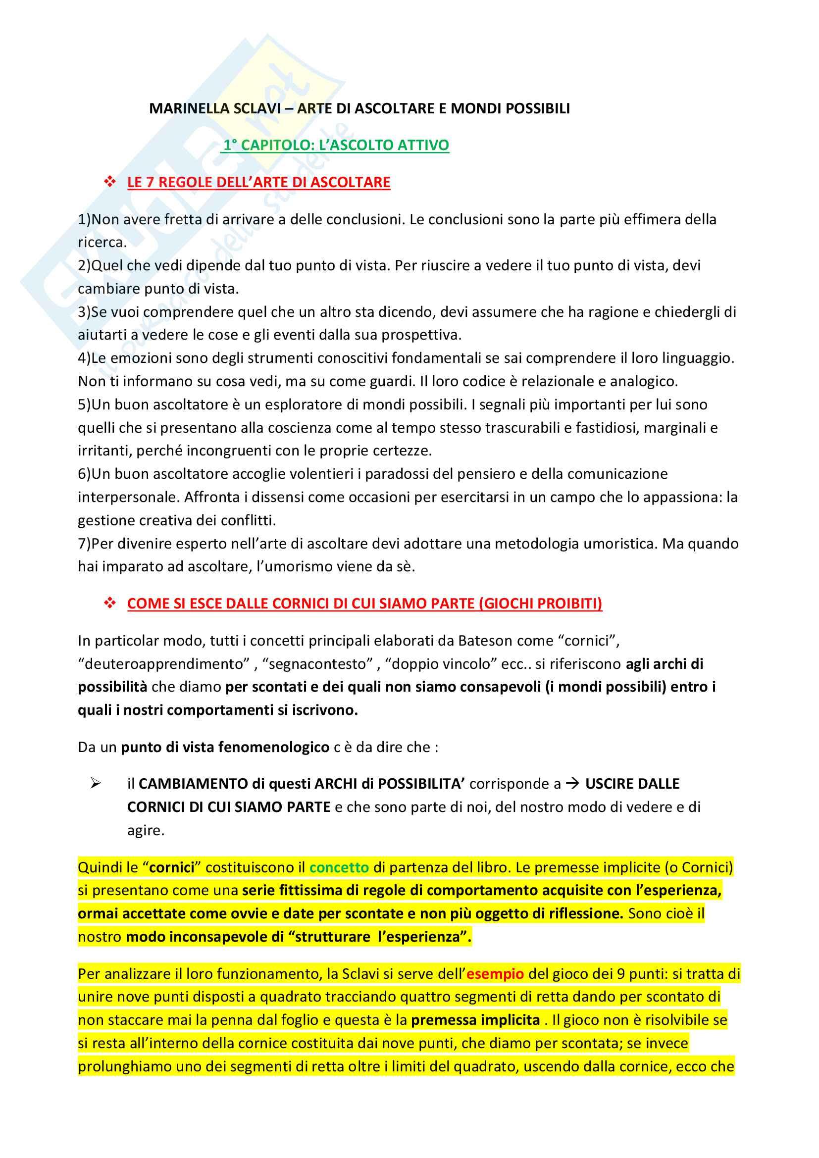 Riassunto esame Psicologia dell'educazione,prof.ssa Cecotti,libro consigliato Arte di ascoltare e Mondi possibili, Sclavi