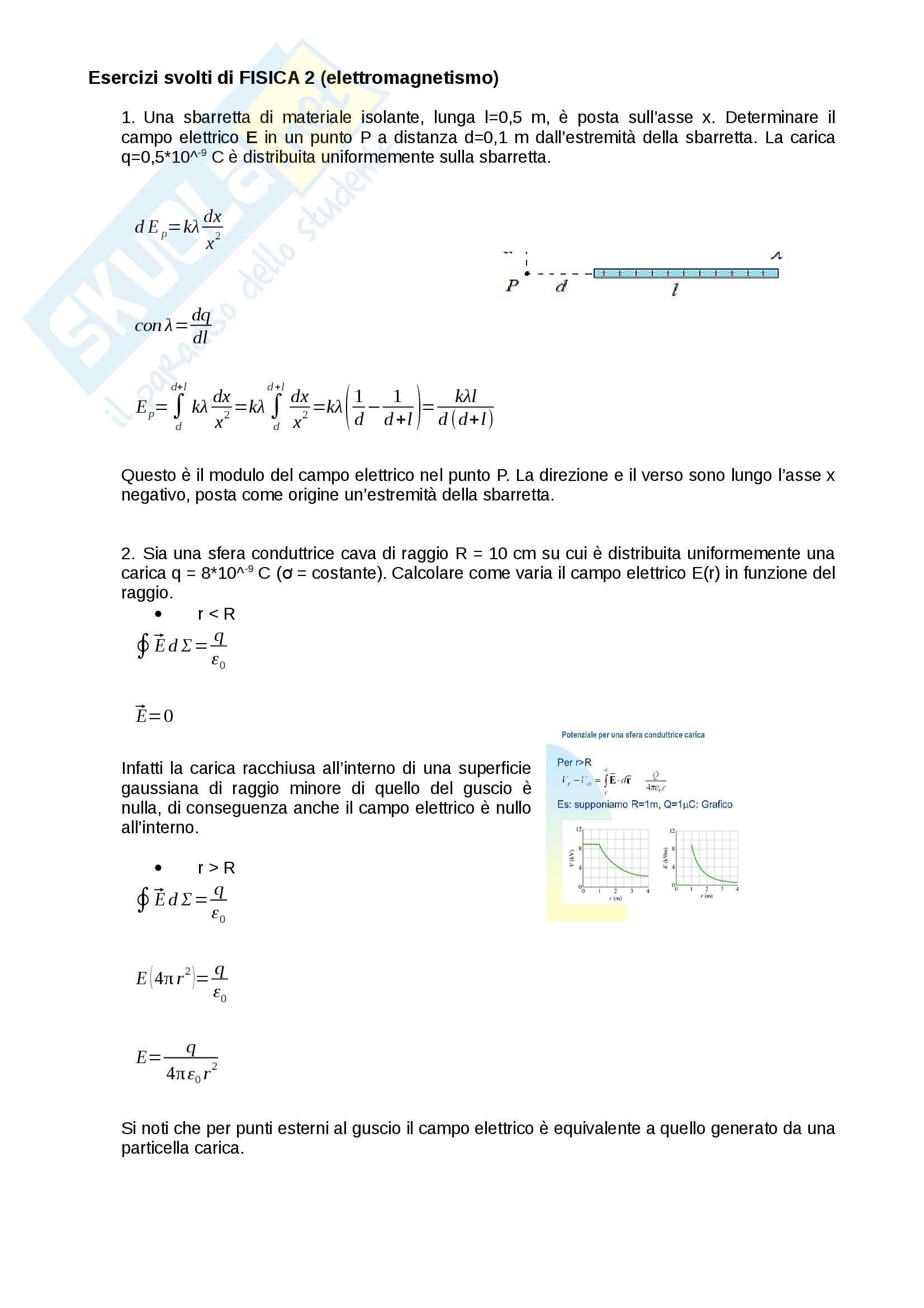 Esercizi svolti di Fisica 2 (parte sui campi elettrici)