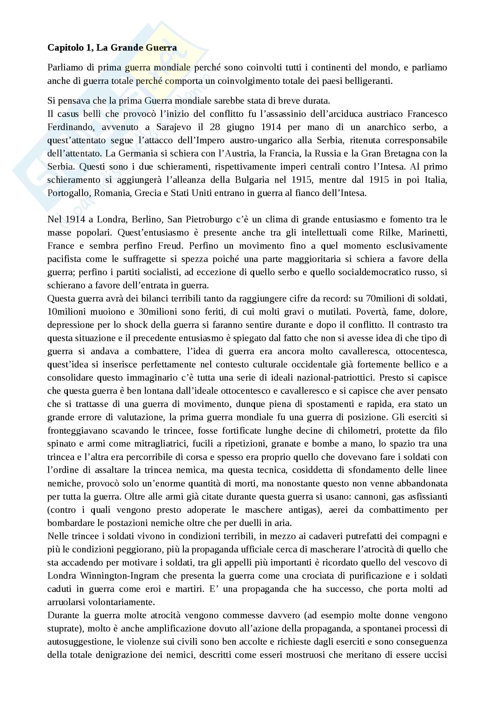 Riassunto esame Storia Contemporanea, prof. Mattera
