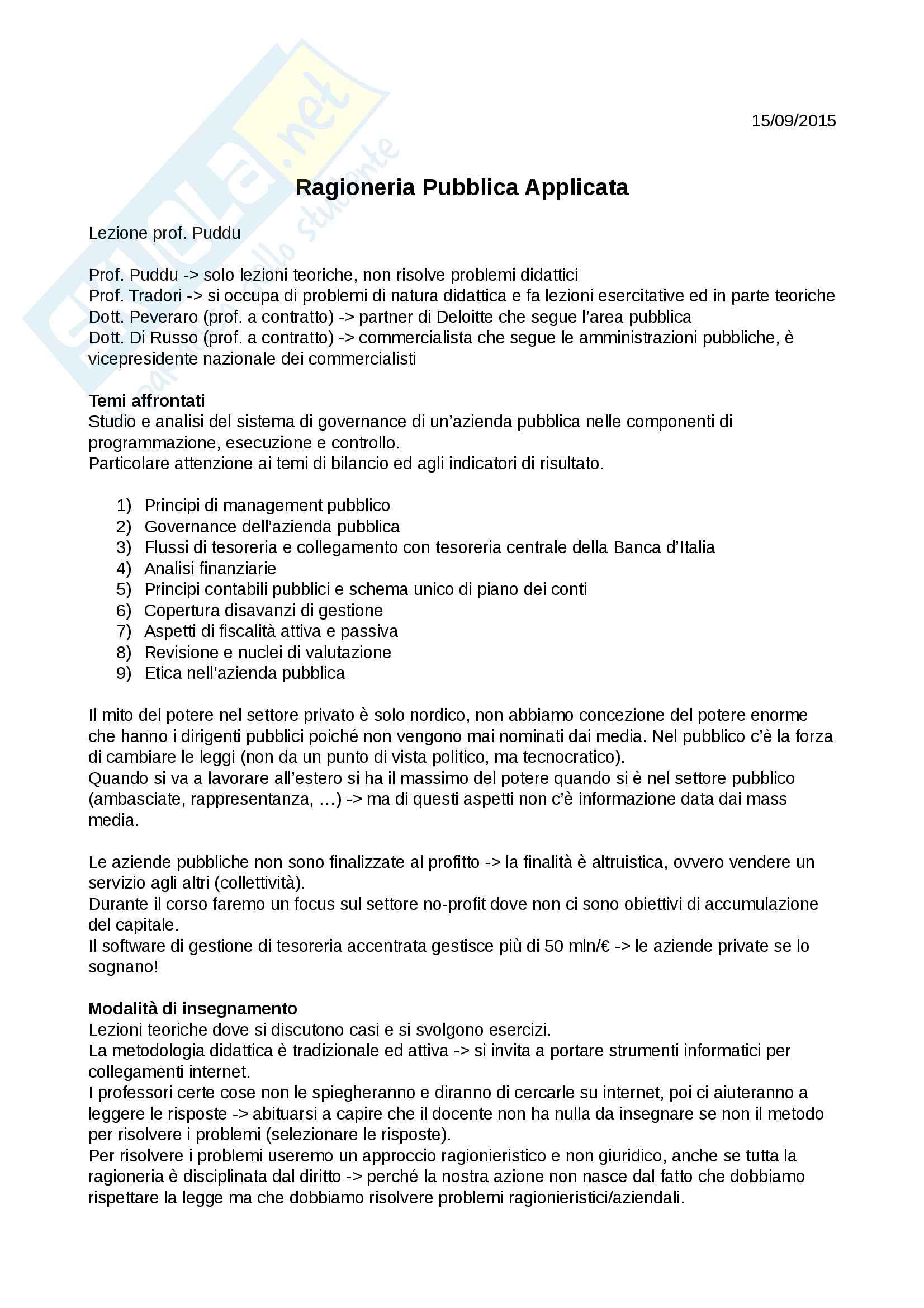 Appunti di ragioneria pubblica applicata