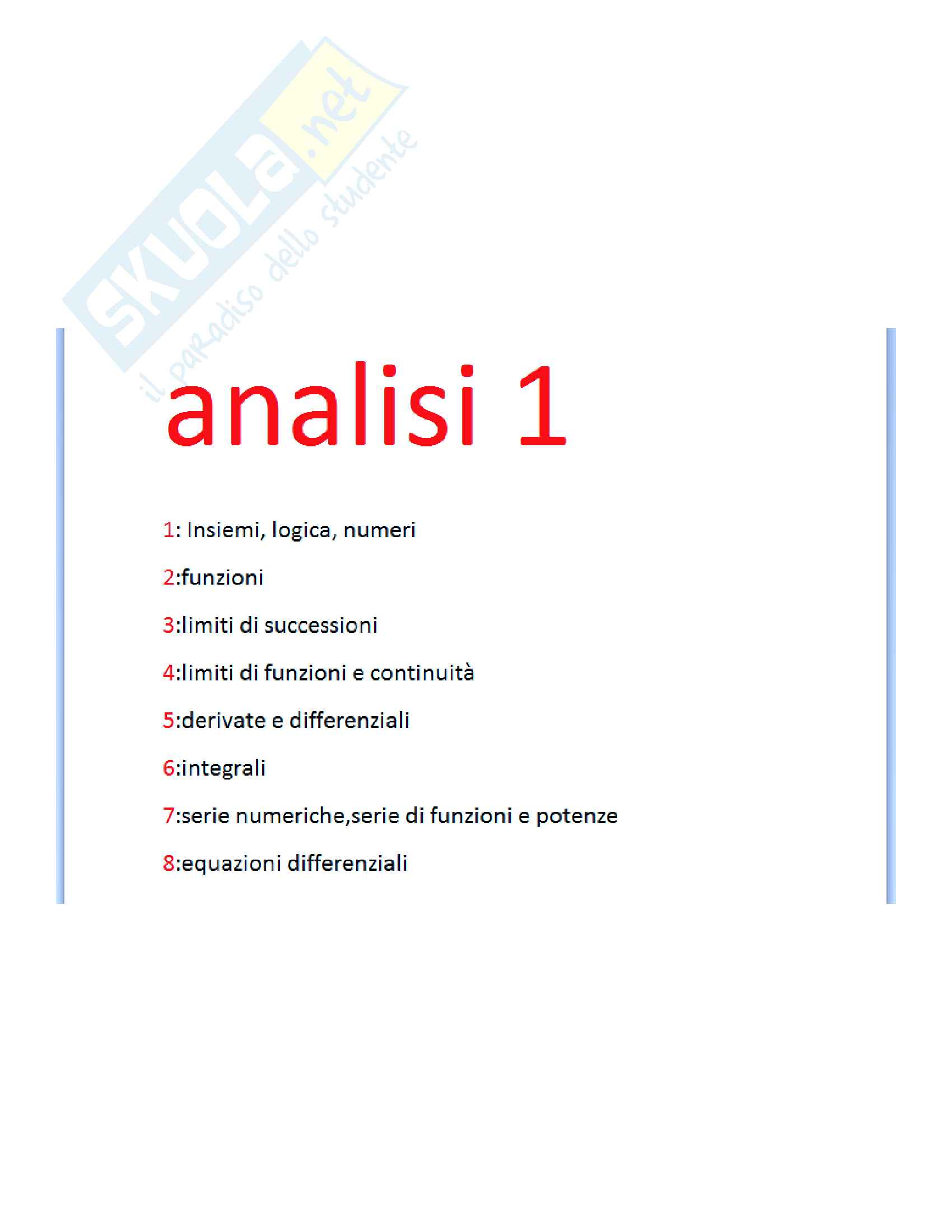 appunto G. Starita Analisi matematica I
