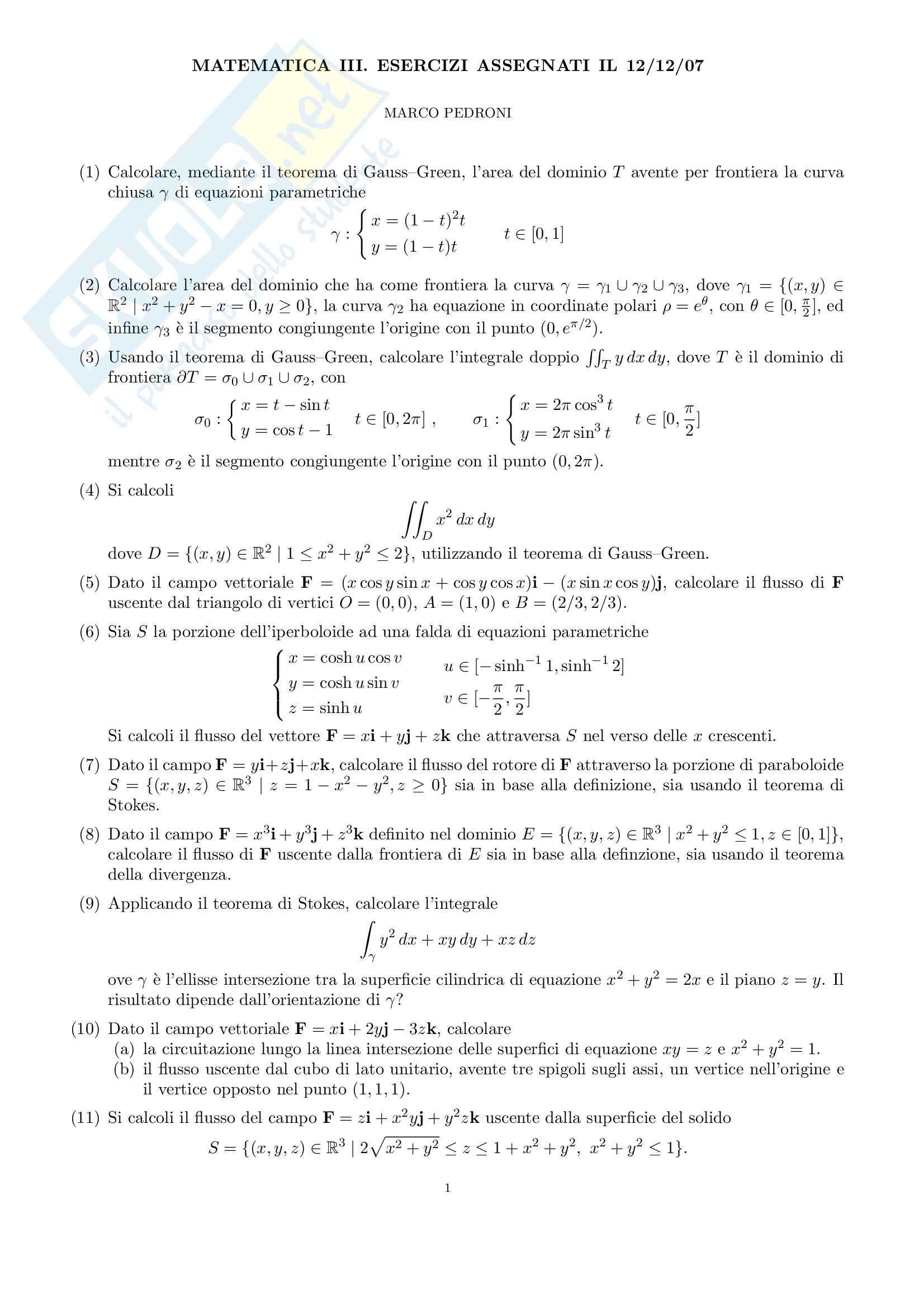 Analisi matematica II - Esercizi