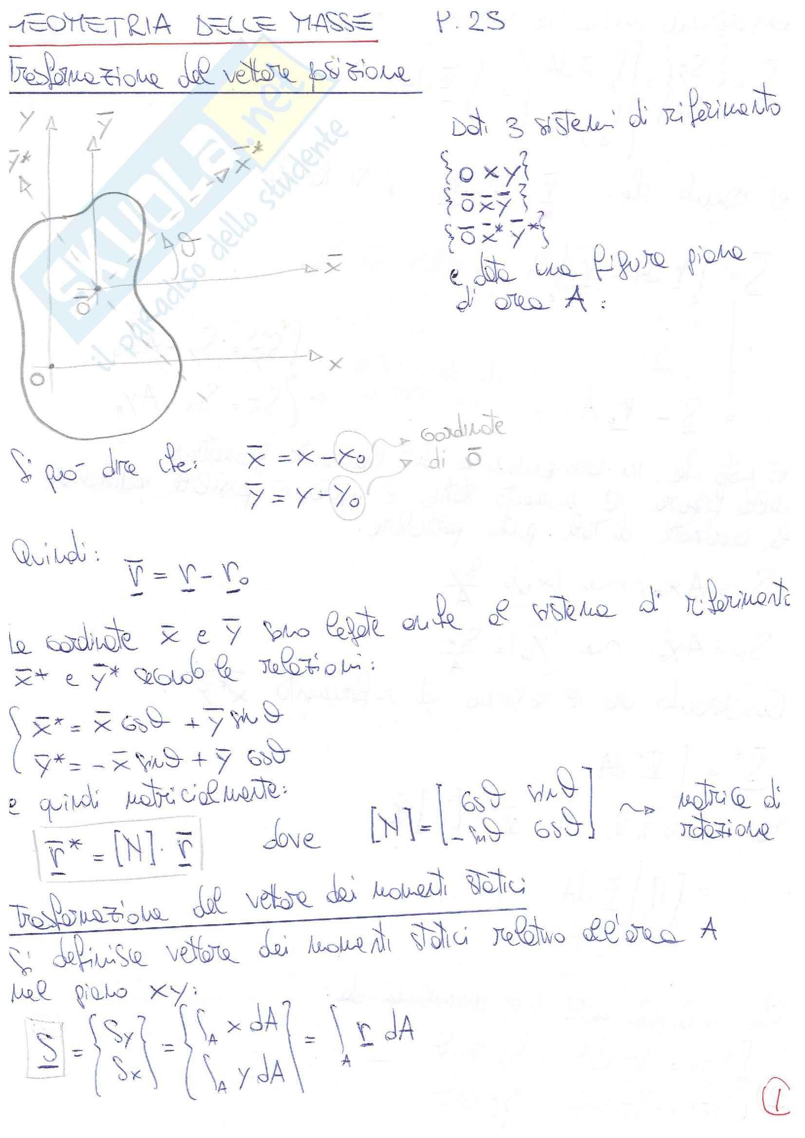 Teoria Scienza delle Costruzioni -236 pagine- Geometria masse, Sollecitazioni, Deformazioni e Tensioni, DSV, Instabilità