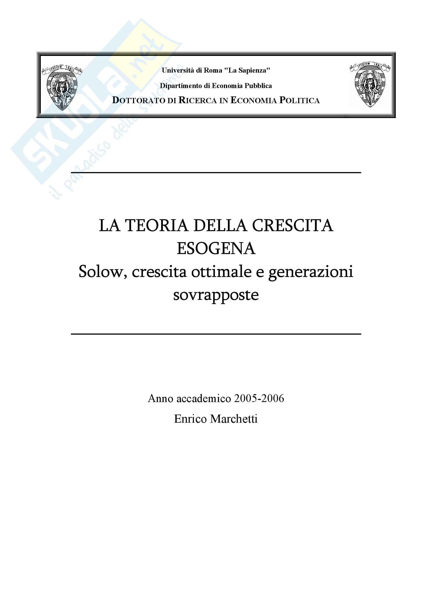 Macroeconomia - teoria della crescita - Dispensa