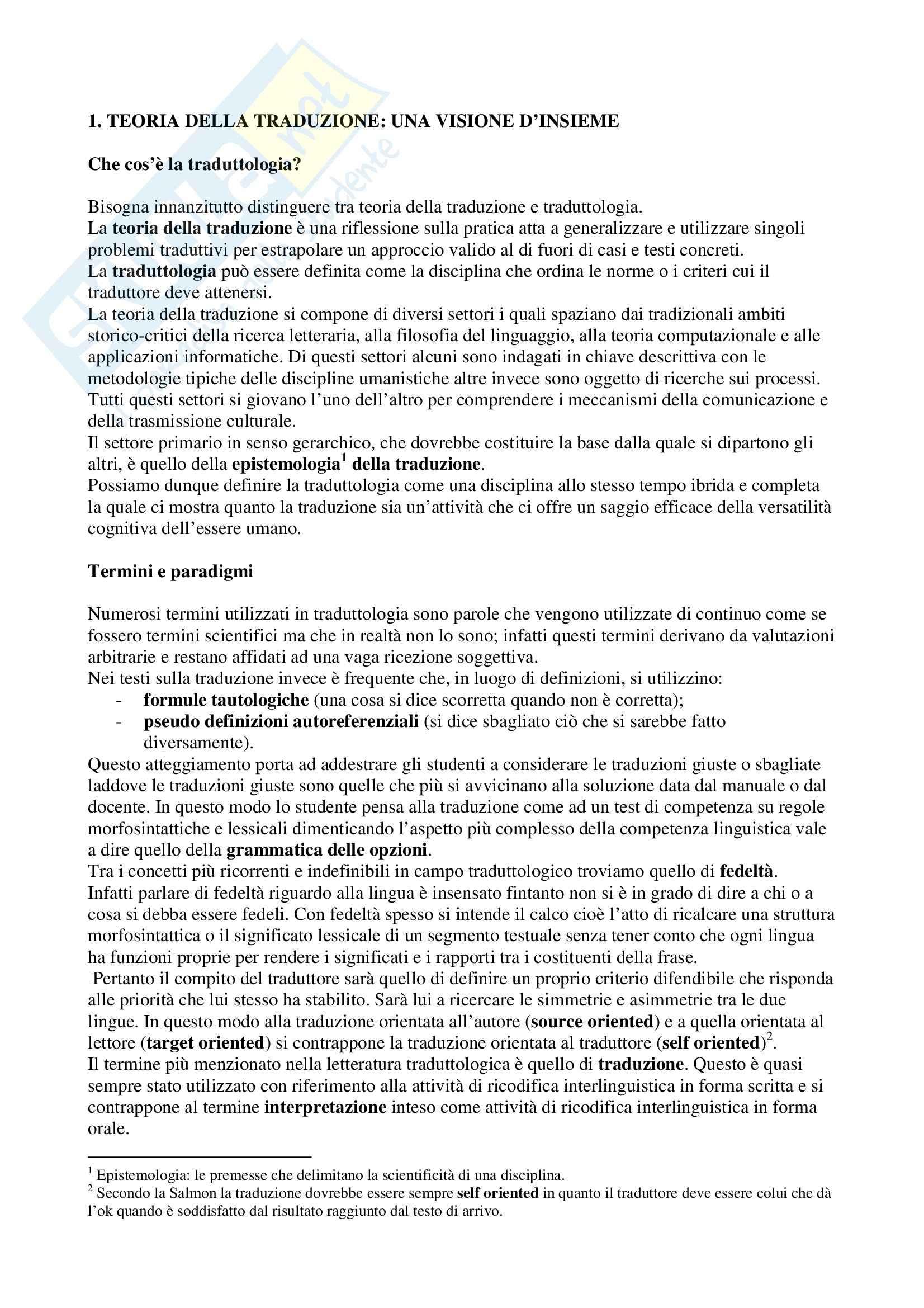 Riassunto esame Teoria della Traduzione, prof. Montella, libro consigliato Teoria della Traduzione, Salmon