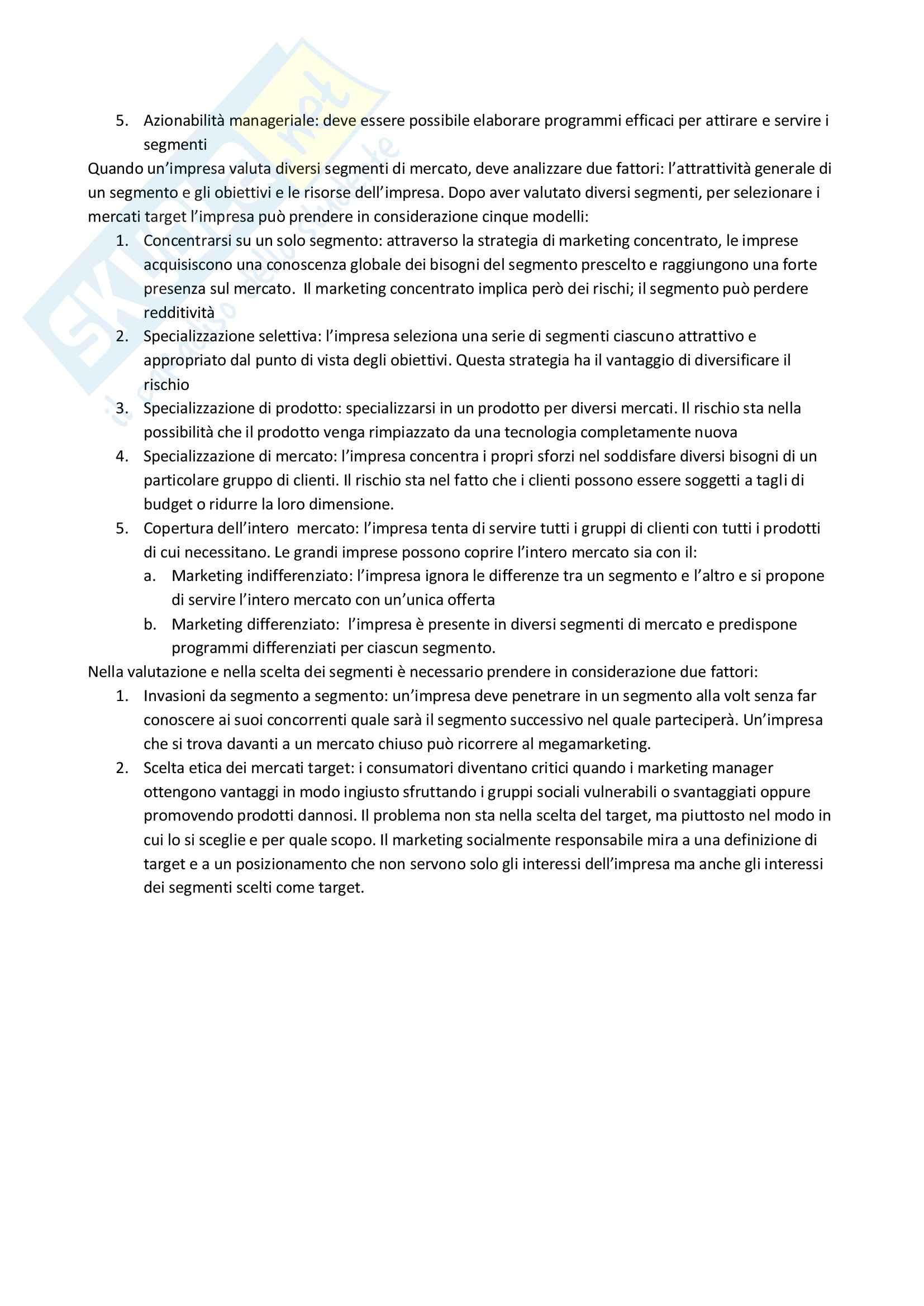 Riassunto esame Elementi di marketing, prof. Chiacchierini, libro consigliato Il marketing del nuovo millenio, Kotler, Keller Pag. 26