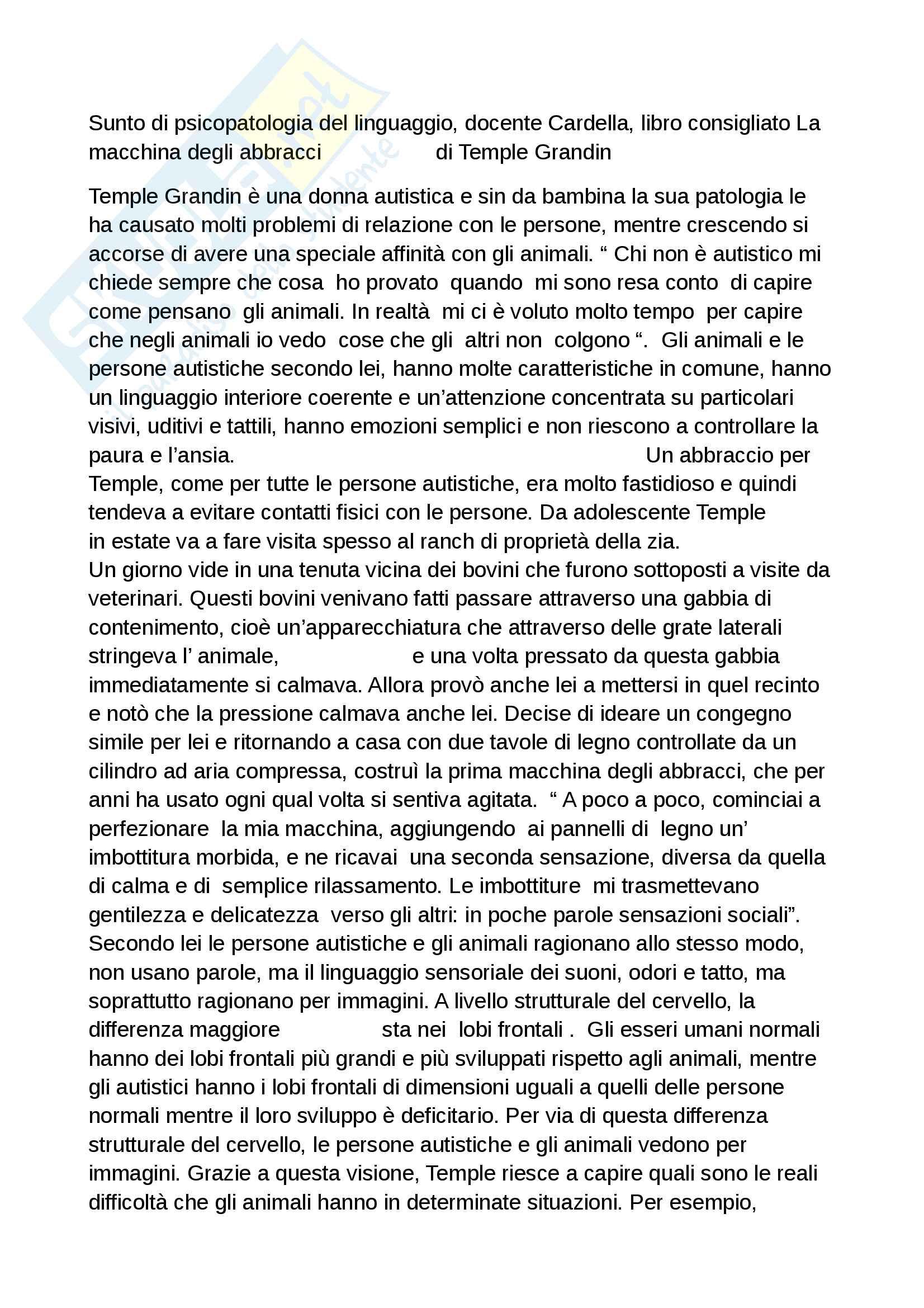 Riassunto esame psicopatologia del linguaggio, docente Cardella, libro consigliato La macchina degli abbracci di Temple Grandin