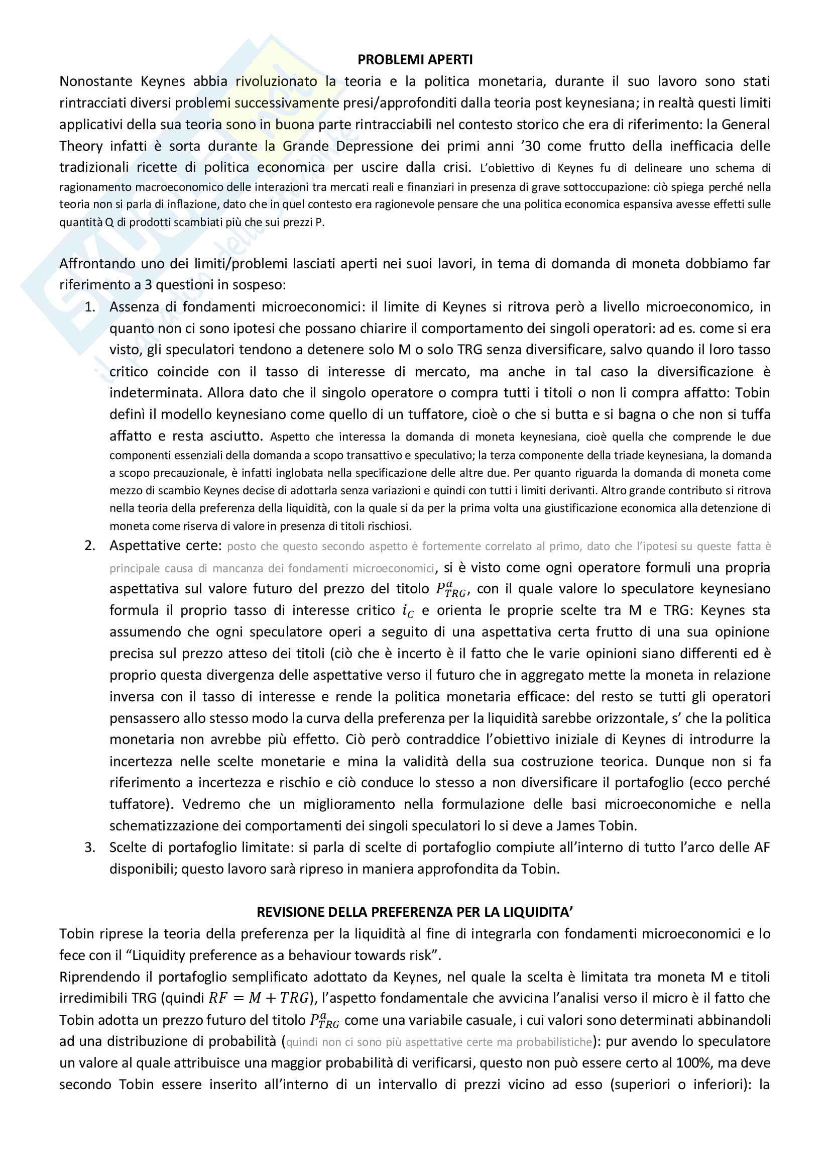 """Riassunto esame Economia monetaria, docente Pietro Alessandrini, libro consigliato """"Economia e politica della moneta"""" di Pietro Alessandrini Pag. 76"""