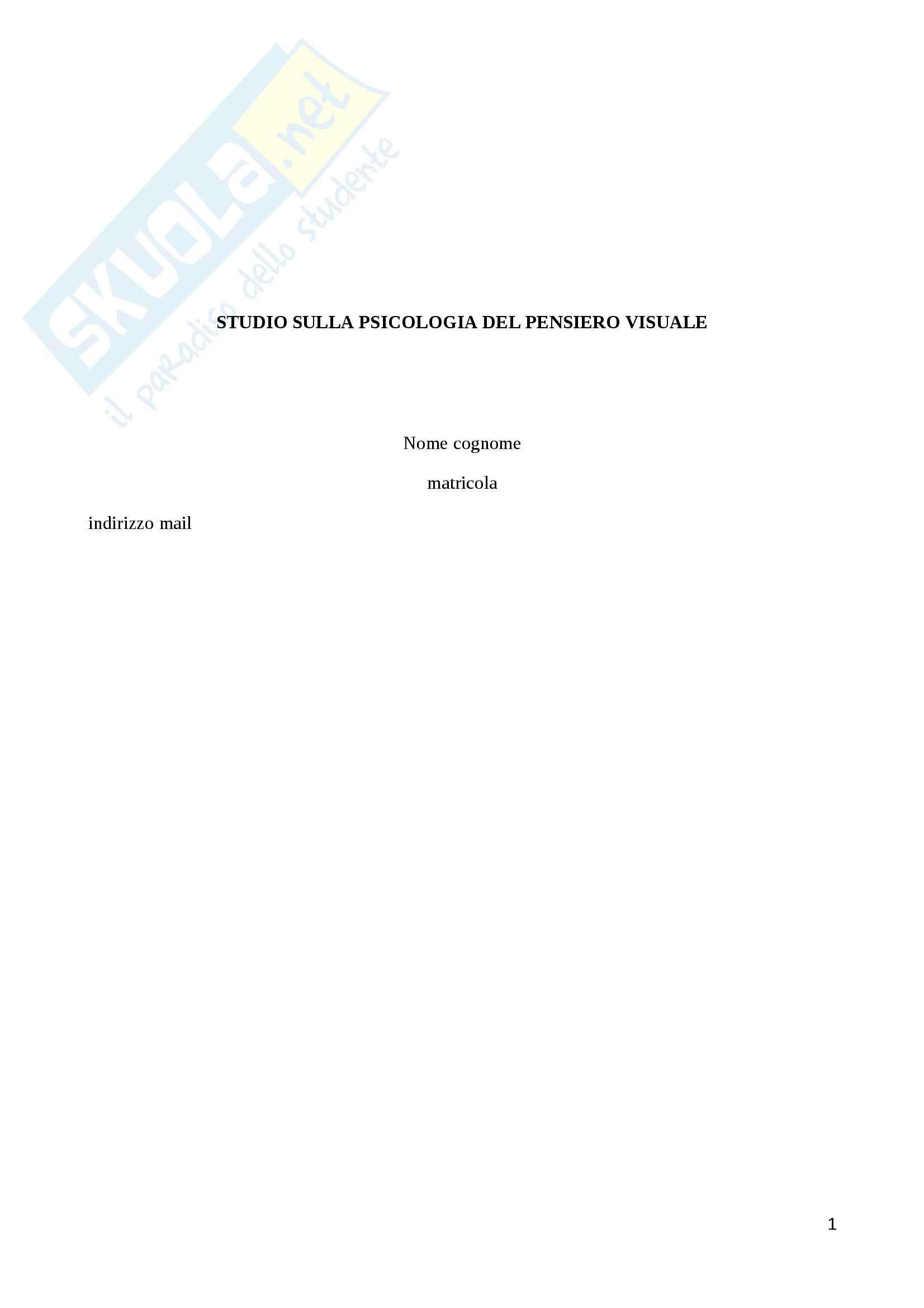 Esempio di report scientifico Psicologia del pensiero visuale