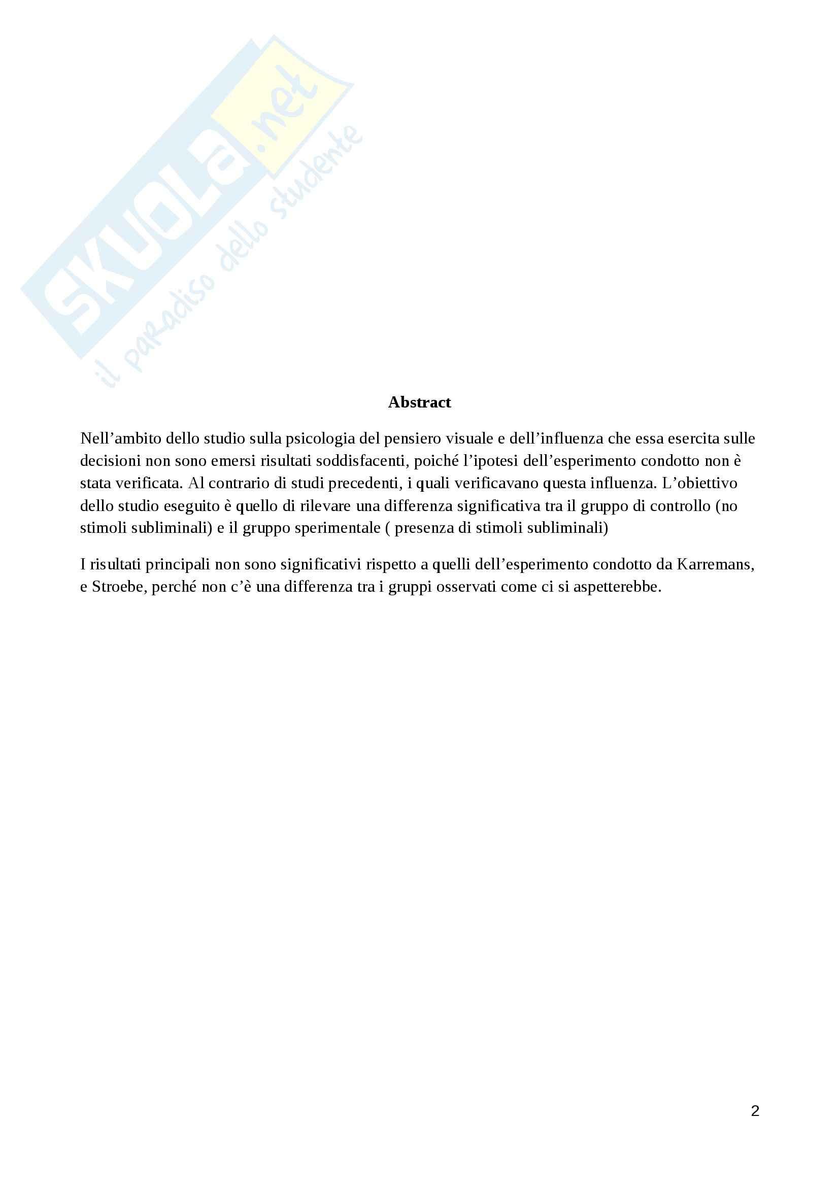 Esempio di report scientifico Psicologia del pensiero visuale Pag. 2