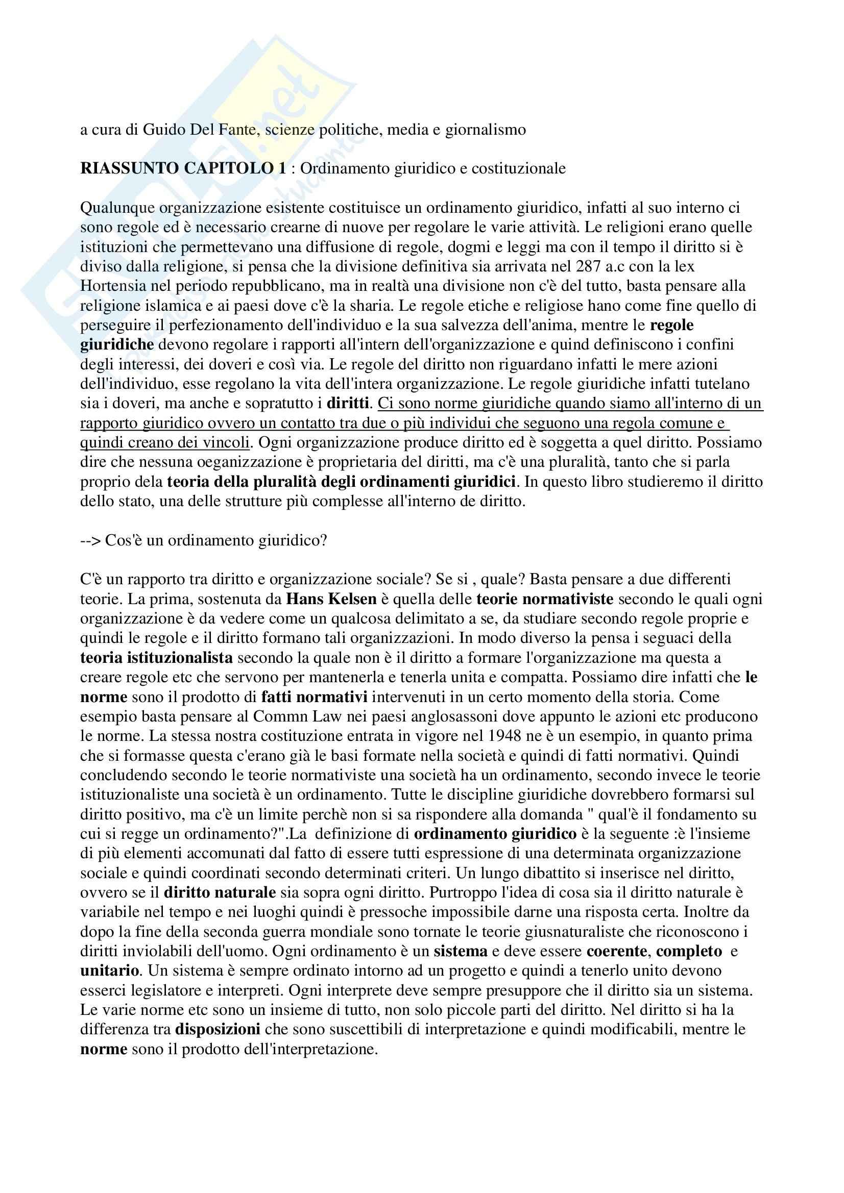 Riassunto esame Diritto, prof. Allegri, libro consigliato Corso di diritto pubblico, Barbera, Fusaro
