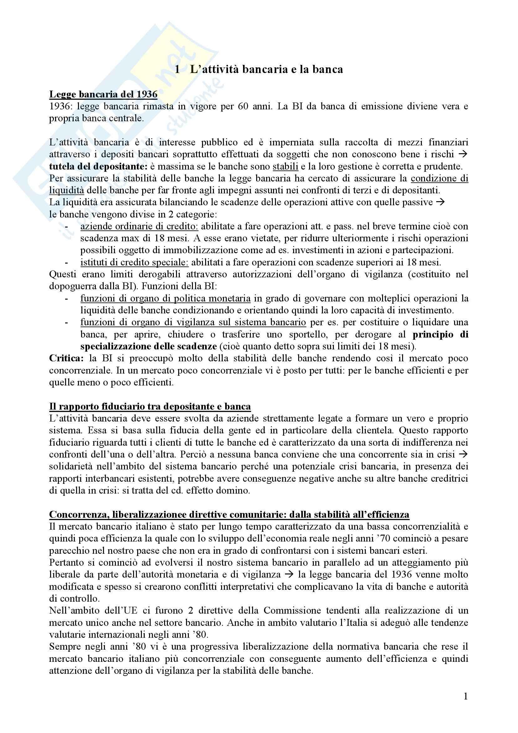 Riassunto esame Tecnica bancaria, prof. Nerici, libro consigliato Economia e gestione della Banca, Ruozi