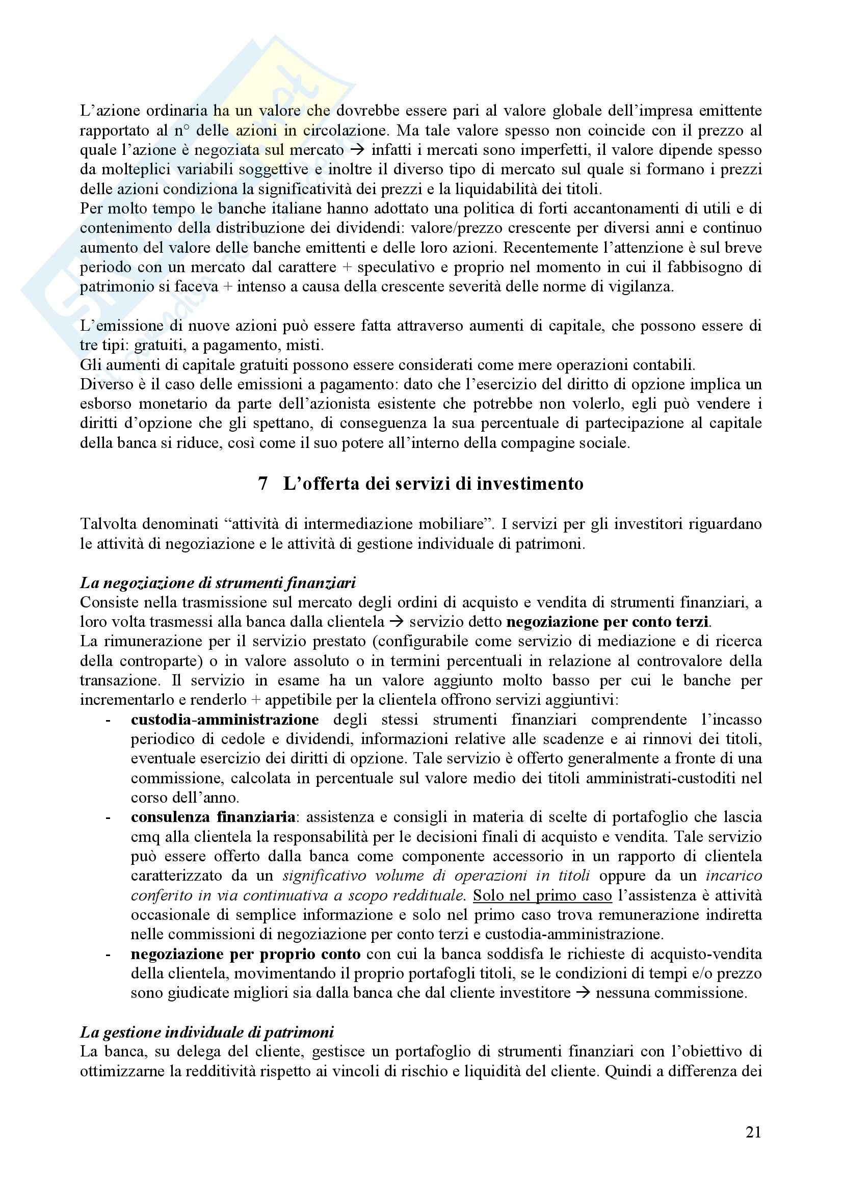Riassunto esame Tecnica bancaria, prof. Nerici, libro consigliato Economia e gestione della Banca, Ruozi Pag. 21