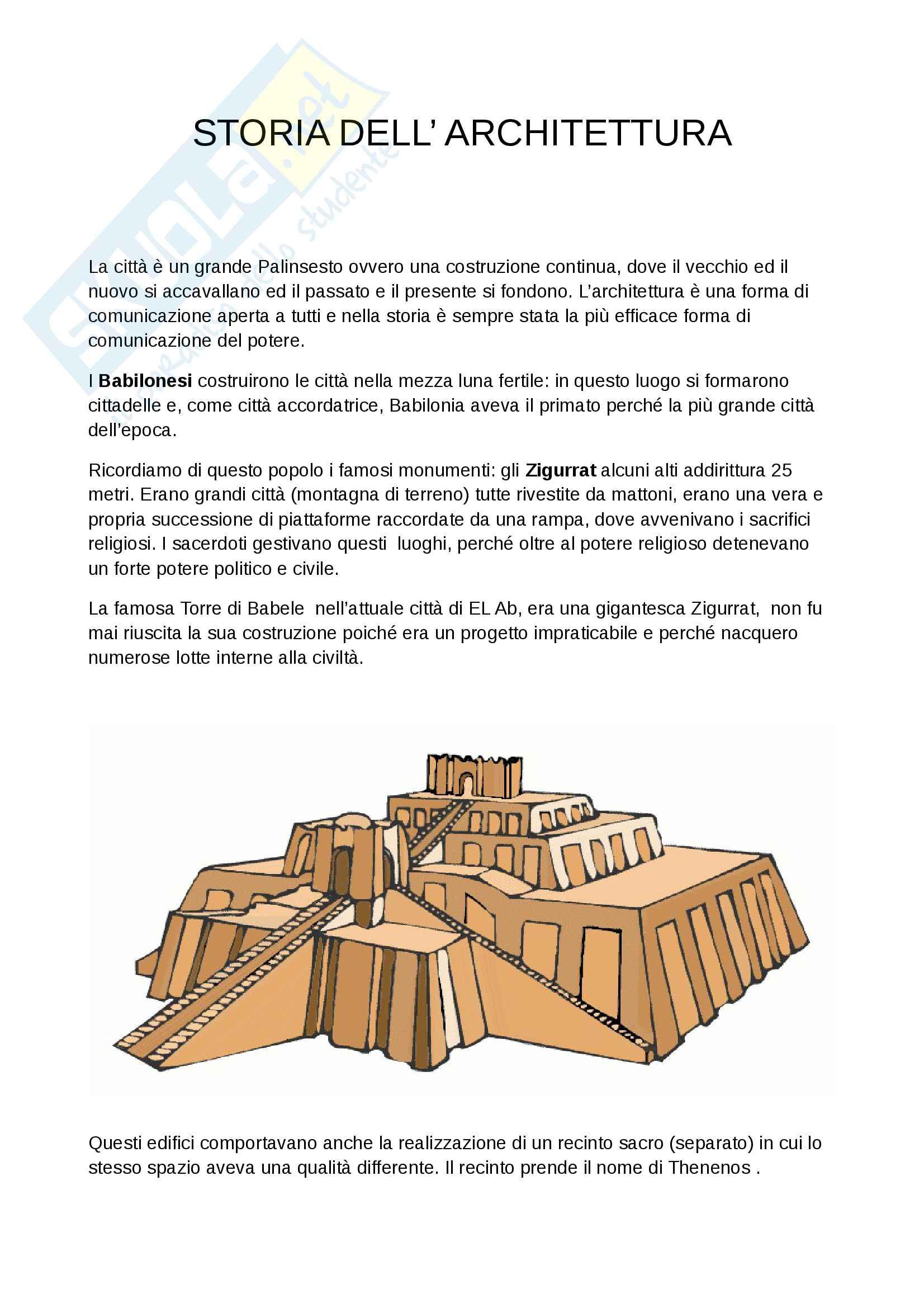 Appunti Storia dell'Architettura - Dai Mesopotamici ai Greci