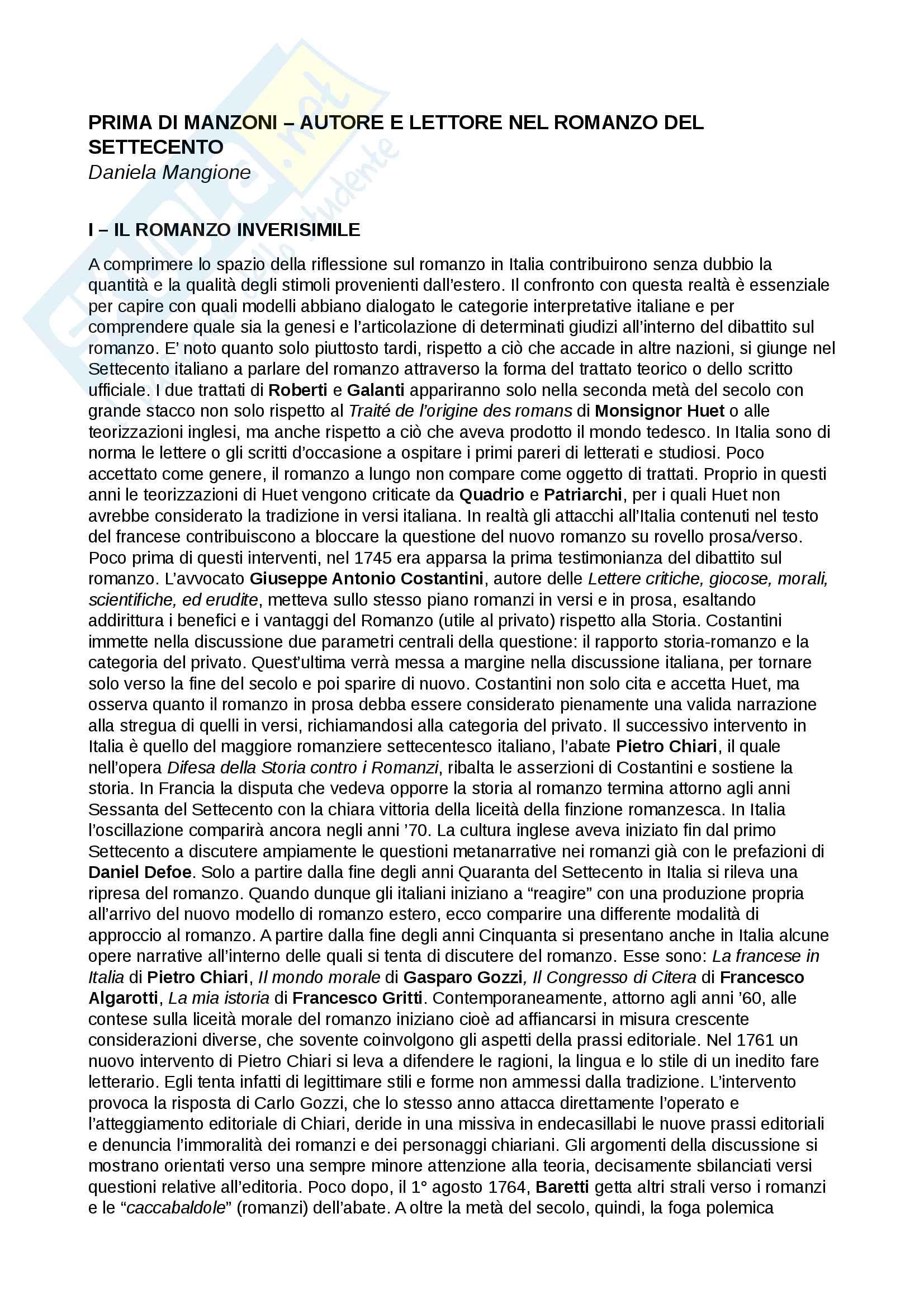Riassunto esame Testi e questioni di letteratura italiana, prof. Storini, libro consigliato Prima di Manzoni. Autore e lettore nel romanzo del Settecento, Daniela Mangione