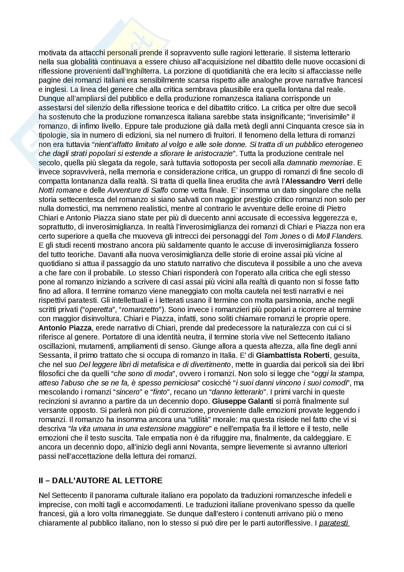 Riassunto esame Testi e questioni di letteratura italiana, prof. Storini, libro consigliato Prima di Manzoni. Autore e lettore nel romanzo del Settecento, Daniela Mangione Pag. 2