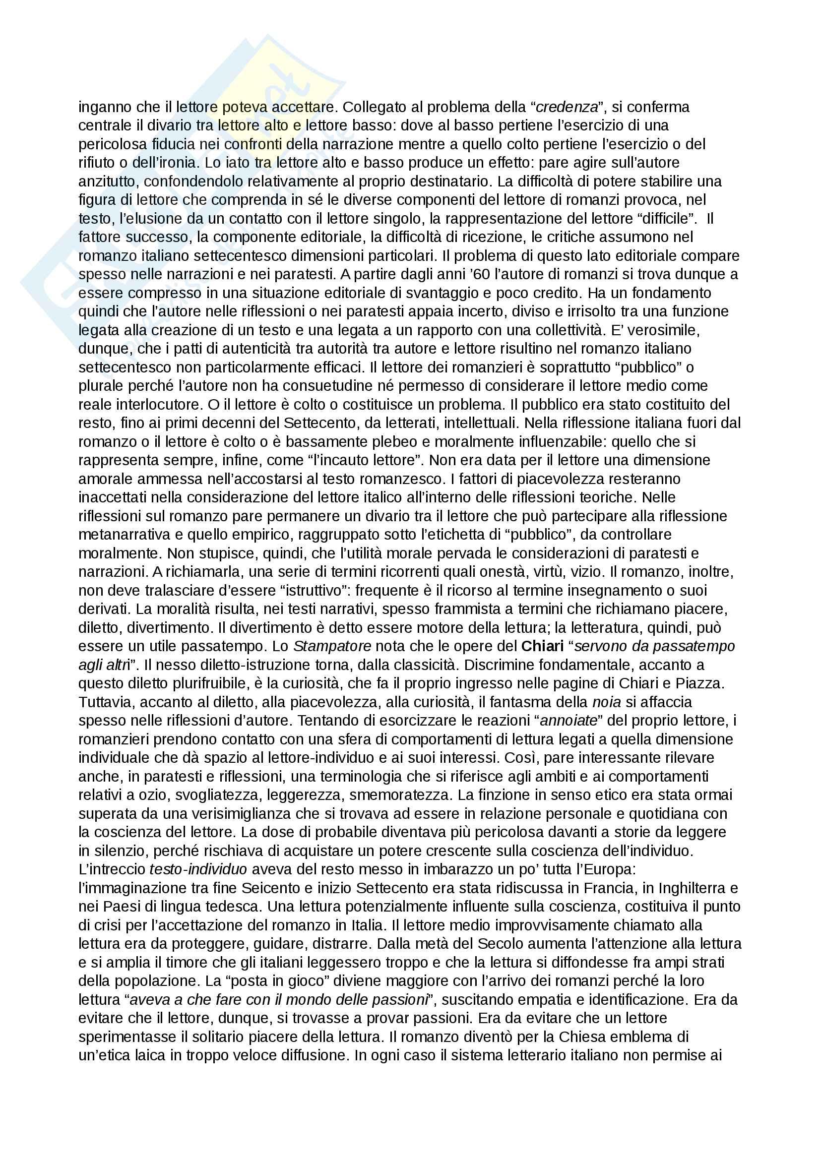 Riassunto esame Testi e questioni di letteratura italiana, prof. Storini, libro consigliato Prima di Manzoni. Autore e lettore nel romanzo del Settecento, Daniela Mangione Pag. 6