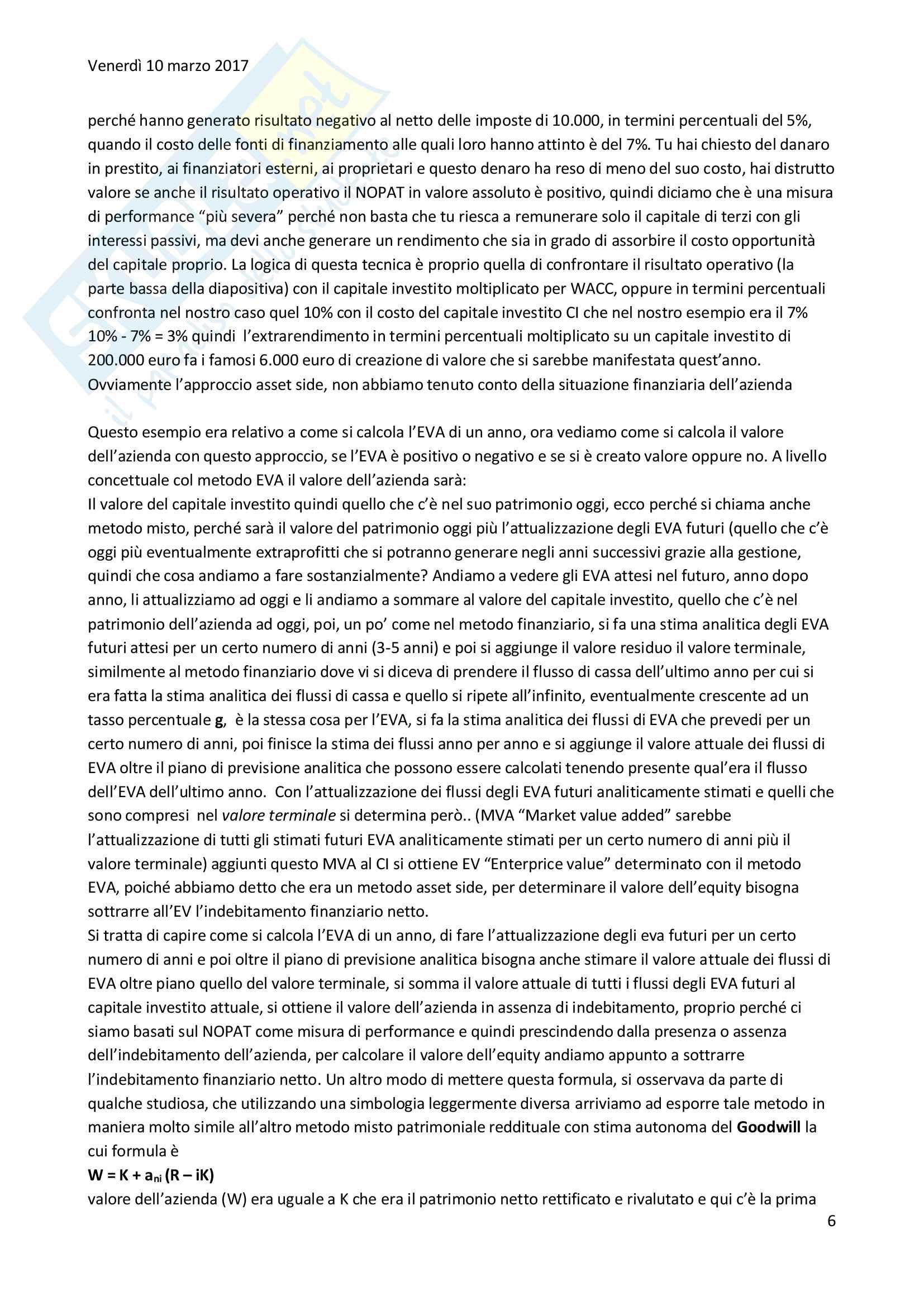 Tecnica professinale:Metodo dei multipli e metodo EVA Pag. 6