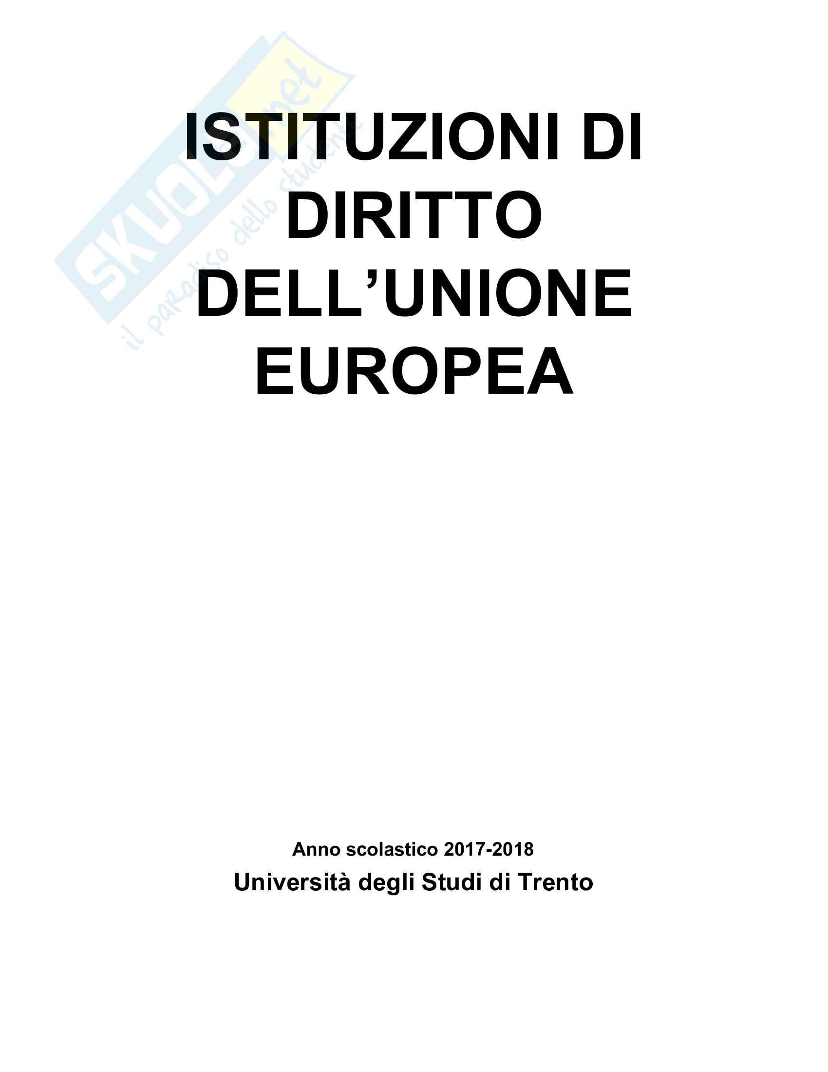 Riassunto esame diritto dell'Unione europea