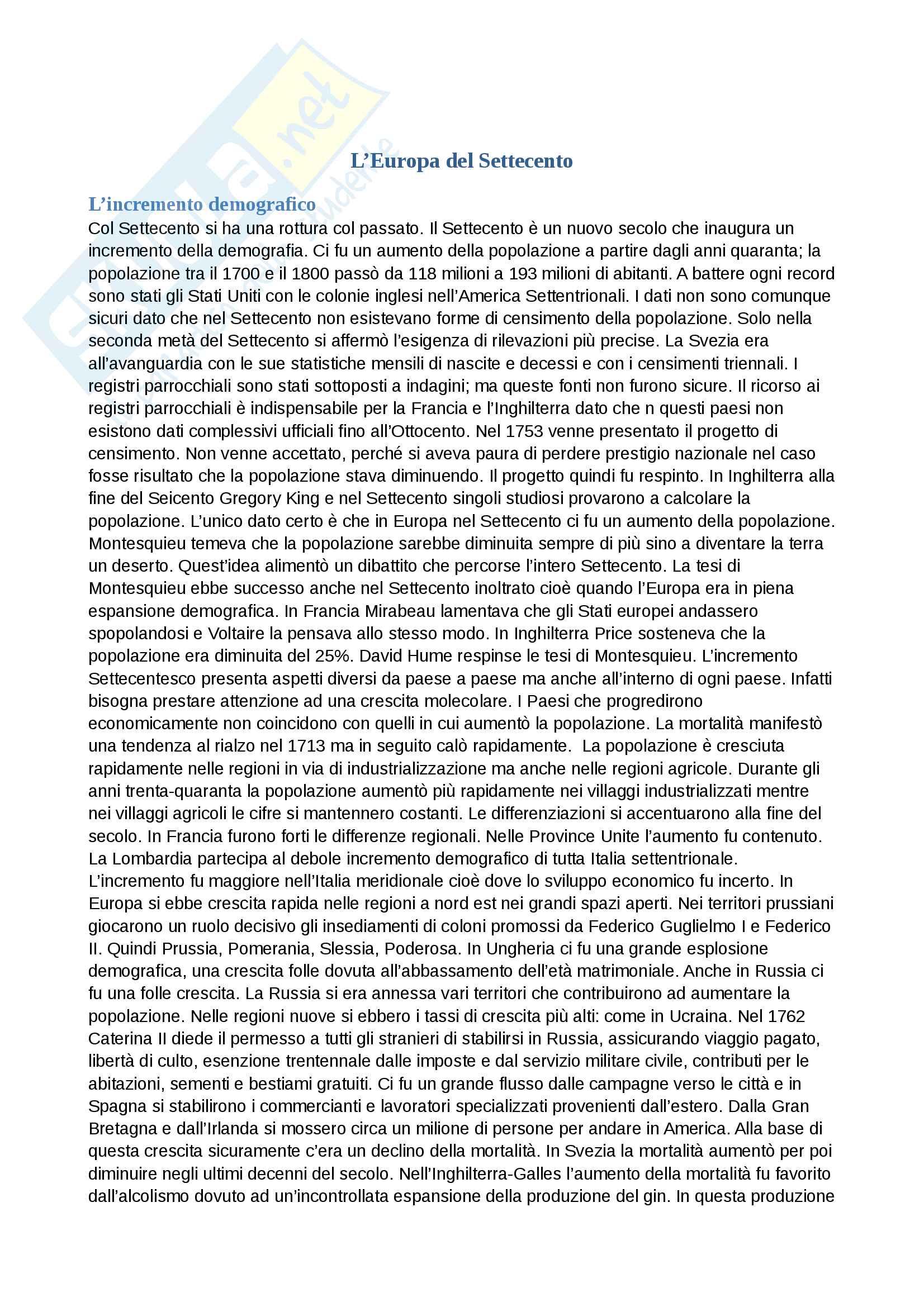 Riassunto esame storia moderna , prof Piero Sanna, libro consigliato L'Europa del 700, L.Guerci