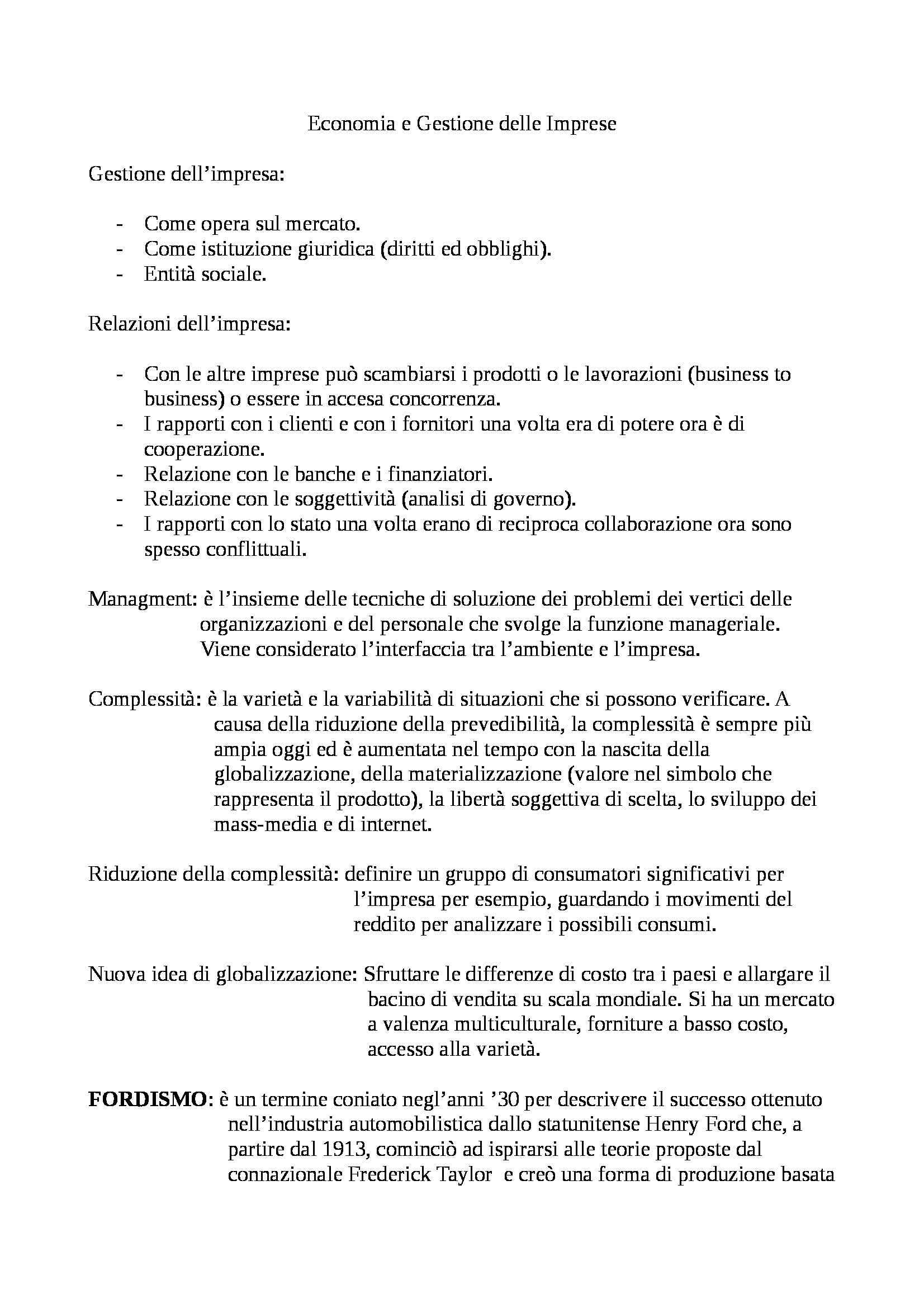 Economia e gestione delle imprese - Appunti