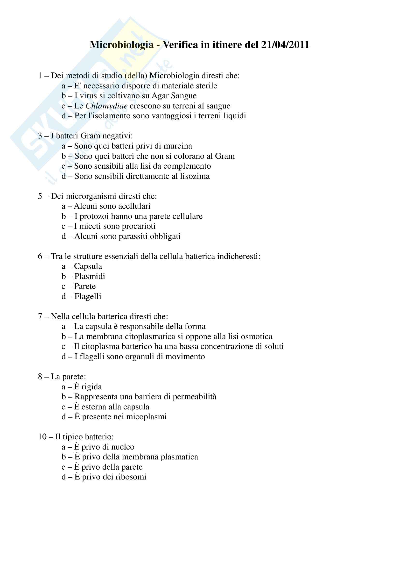 Microbiologia - Verifica in itinere Pag. 1