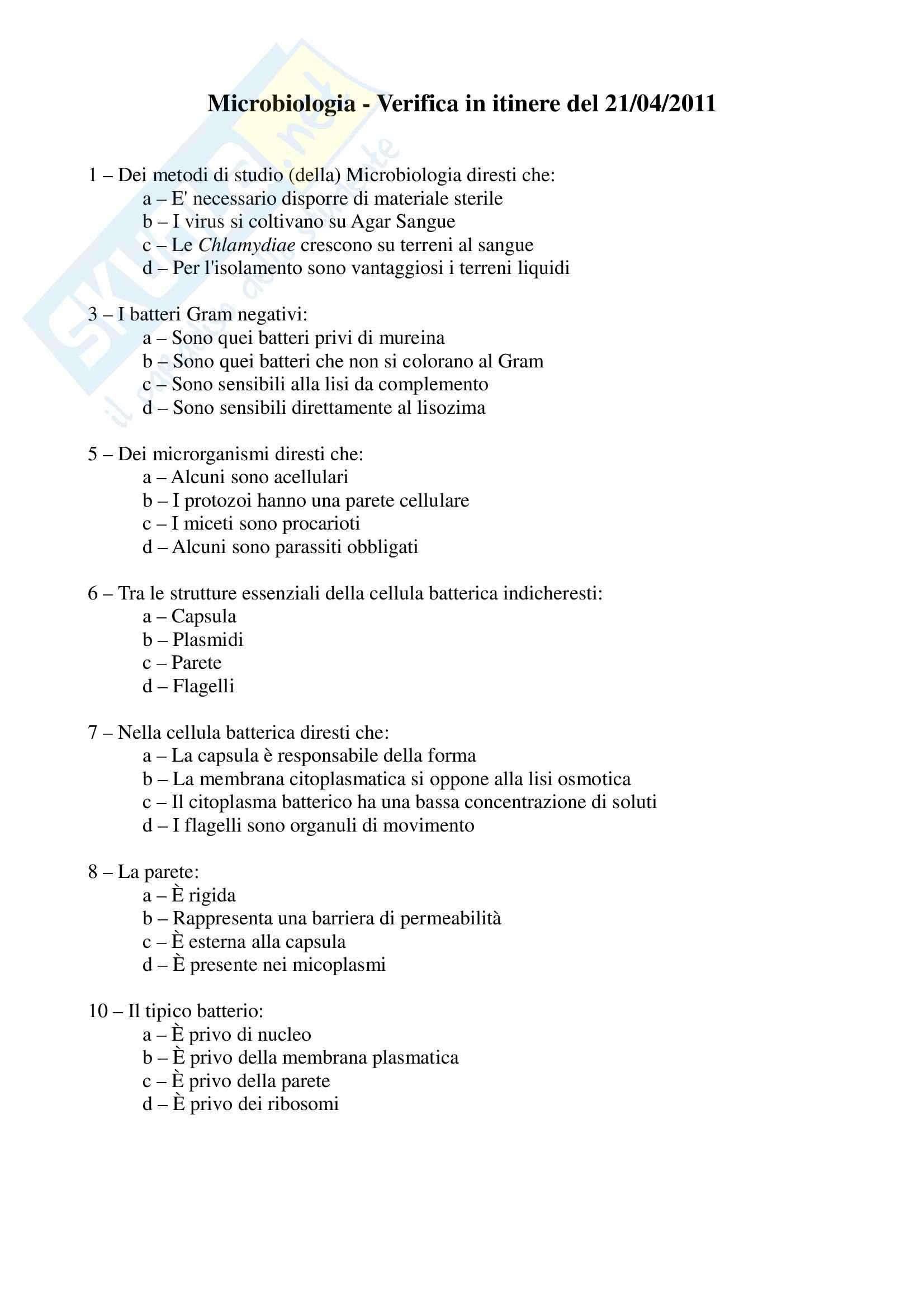 Microbiologia - Verifica in itinere