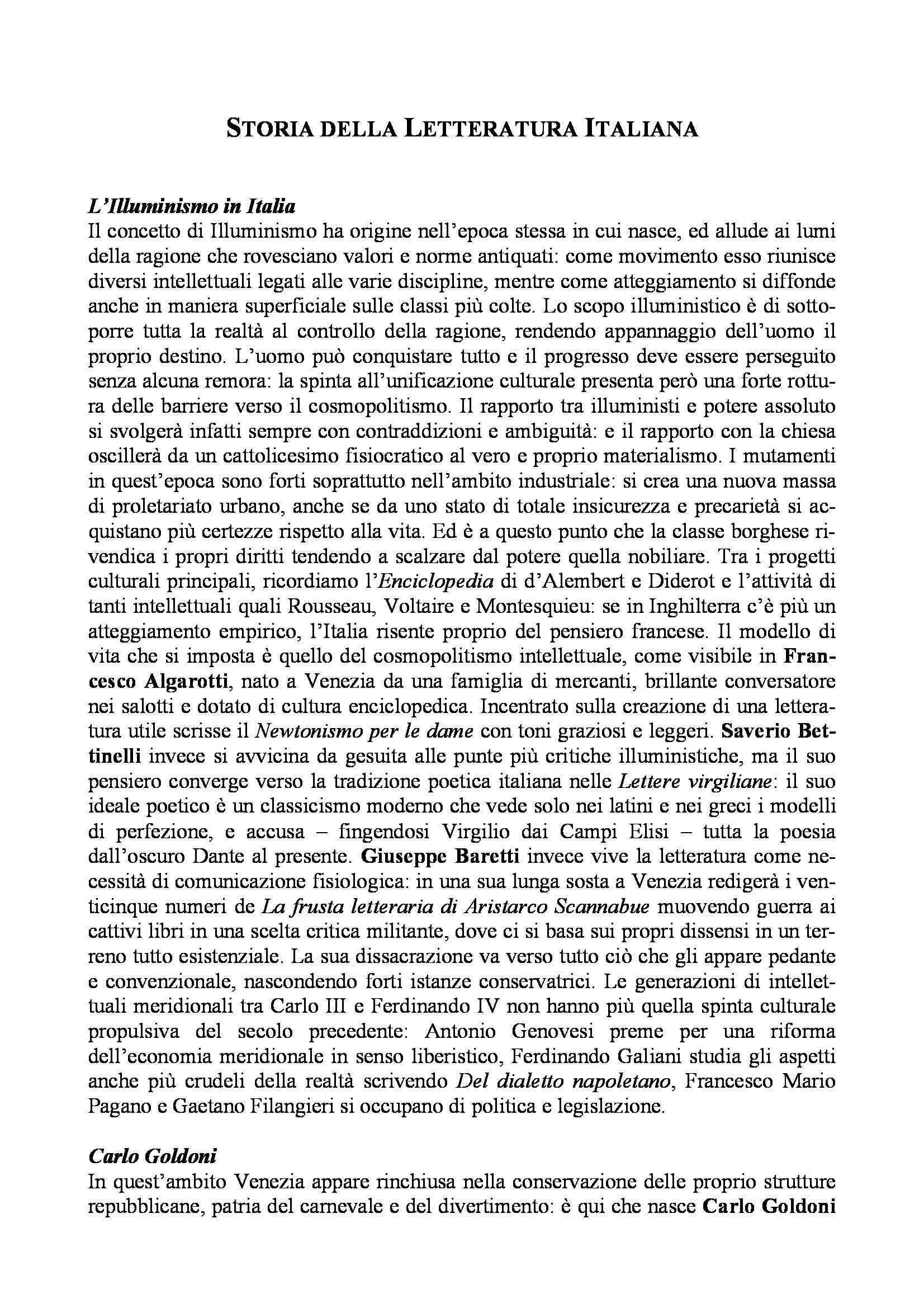 Letteratura italiana - illuminismo, Alfieri e Monti