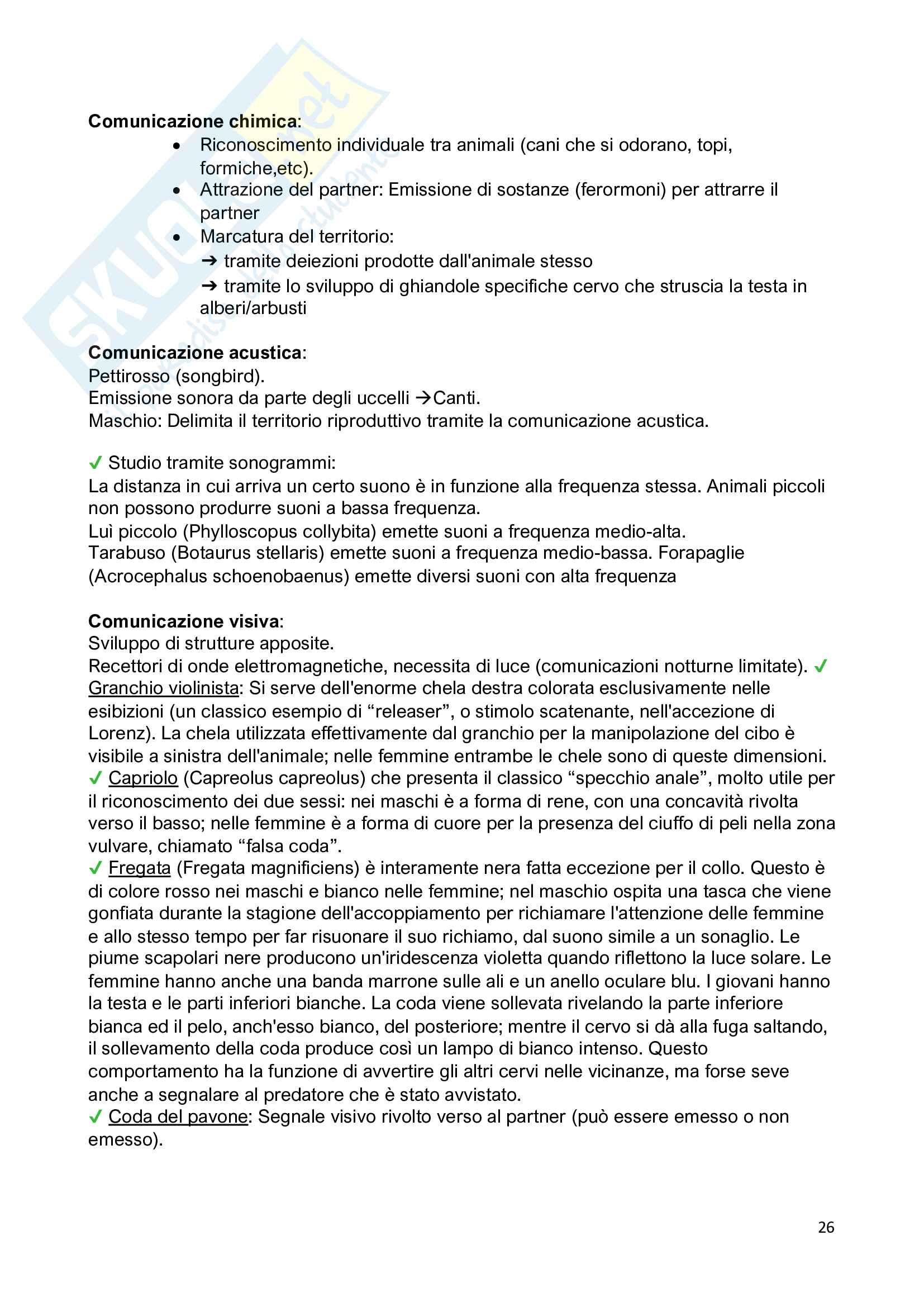 Etologia - studio sul comportamento animale Pag. 26