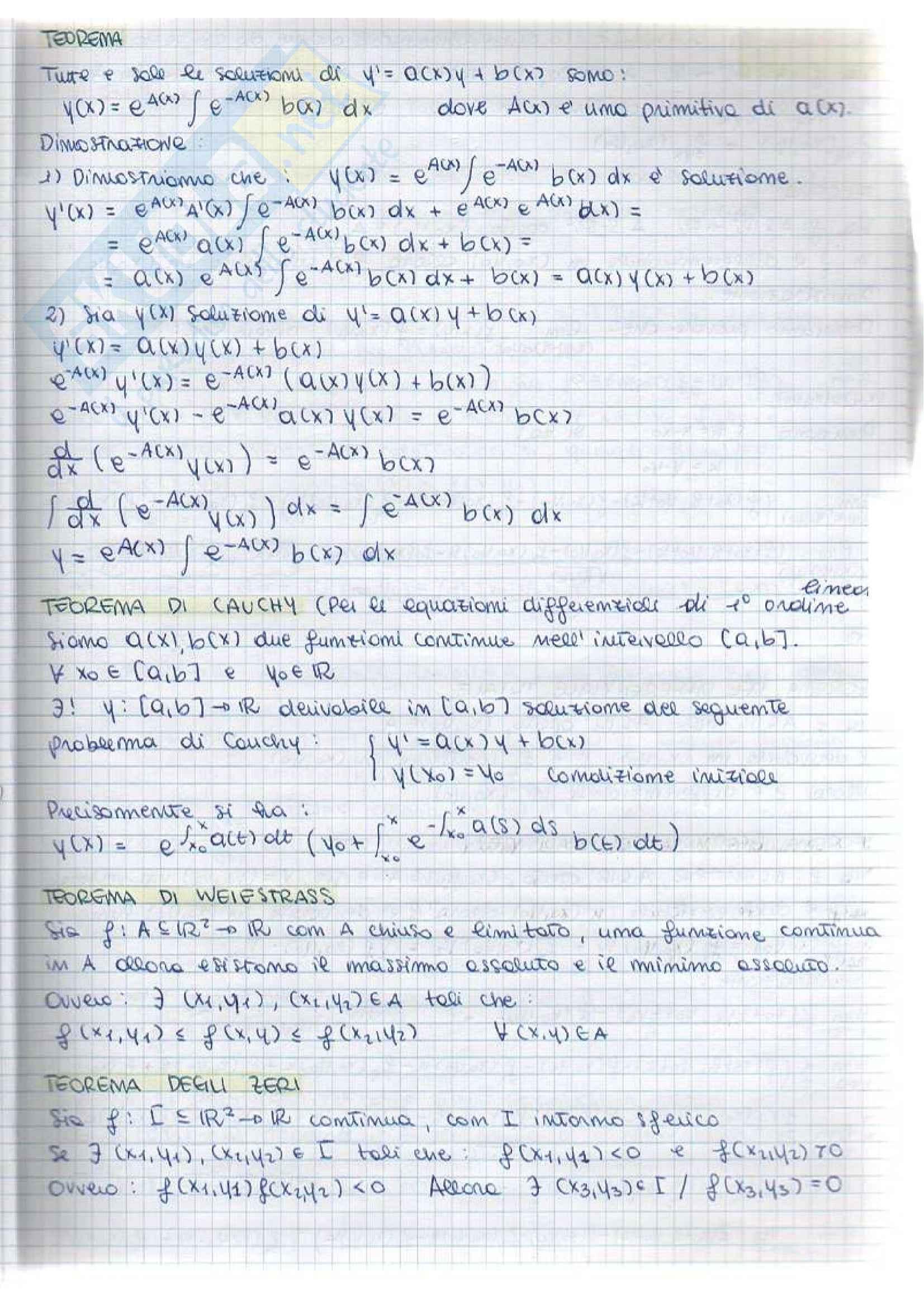 Analisi matematica II - teoremi e dimostrazioni