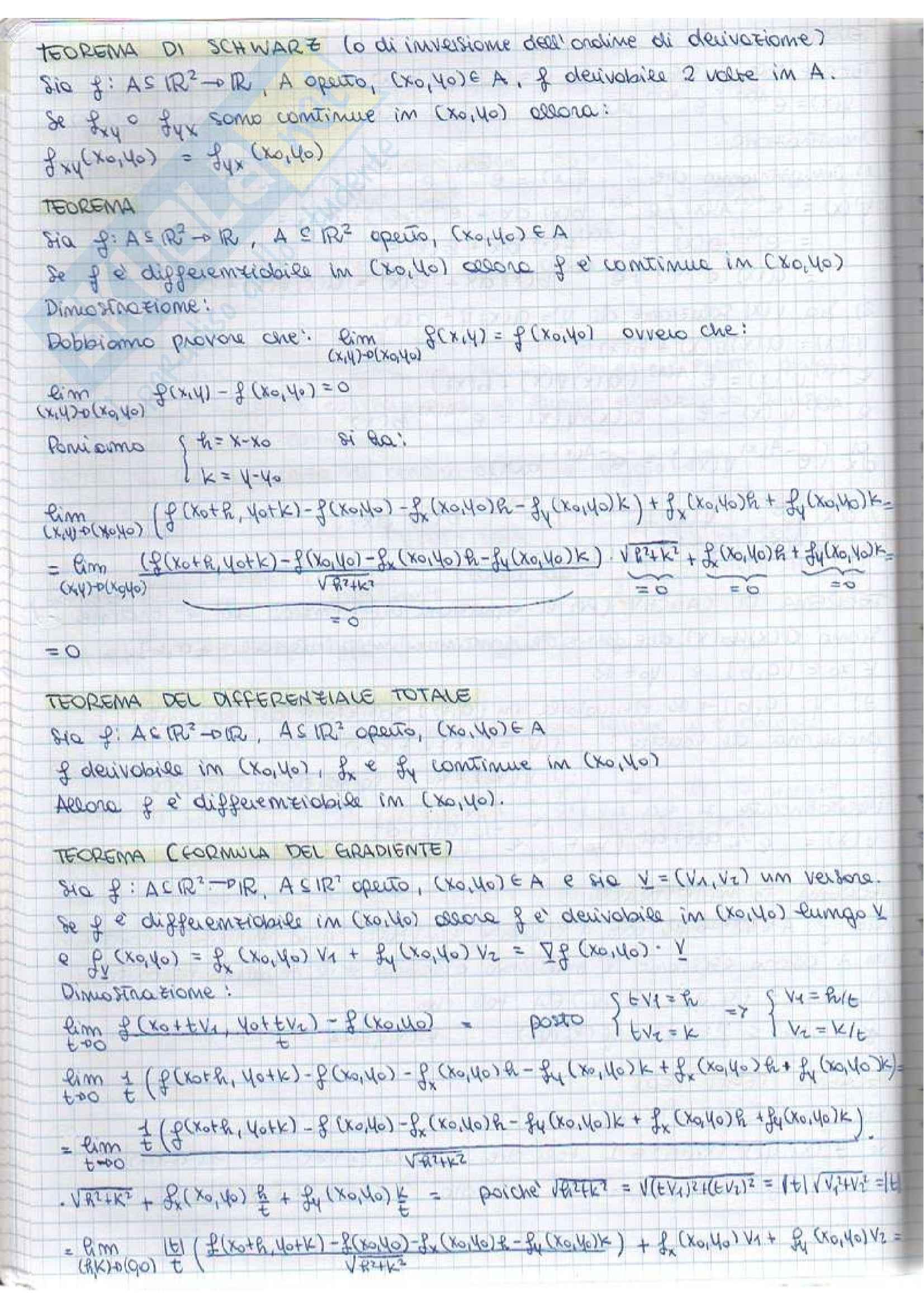 Analisi matematica II - teoremi e dimostrazioni Pag. 2