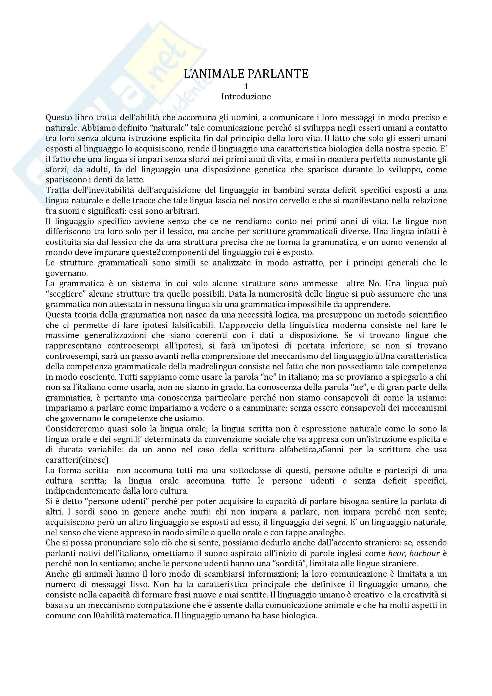 Riassunto esame linguistica, docente Sorianello, libro consigliato l'animale parlante, Nespor
