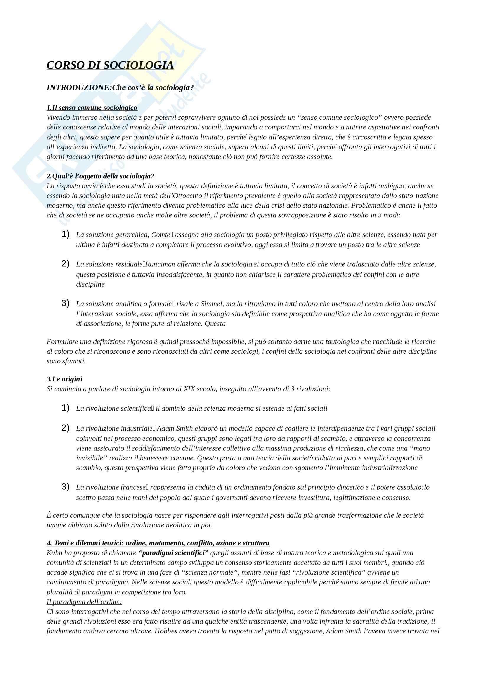 Riassunto esame Istituzioni di Sociologia, prof. Ravelli, libro consigliato Corso di sociologia, Bagnasco, Cavalli