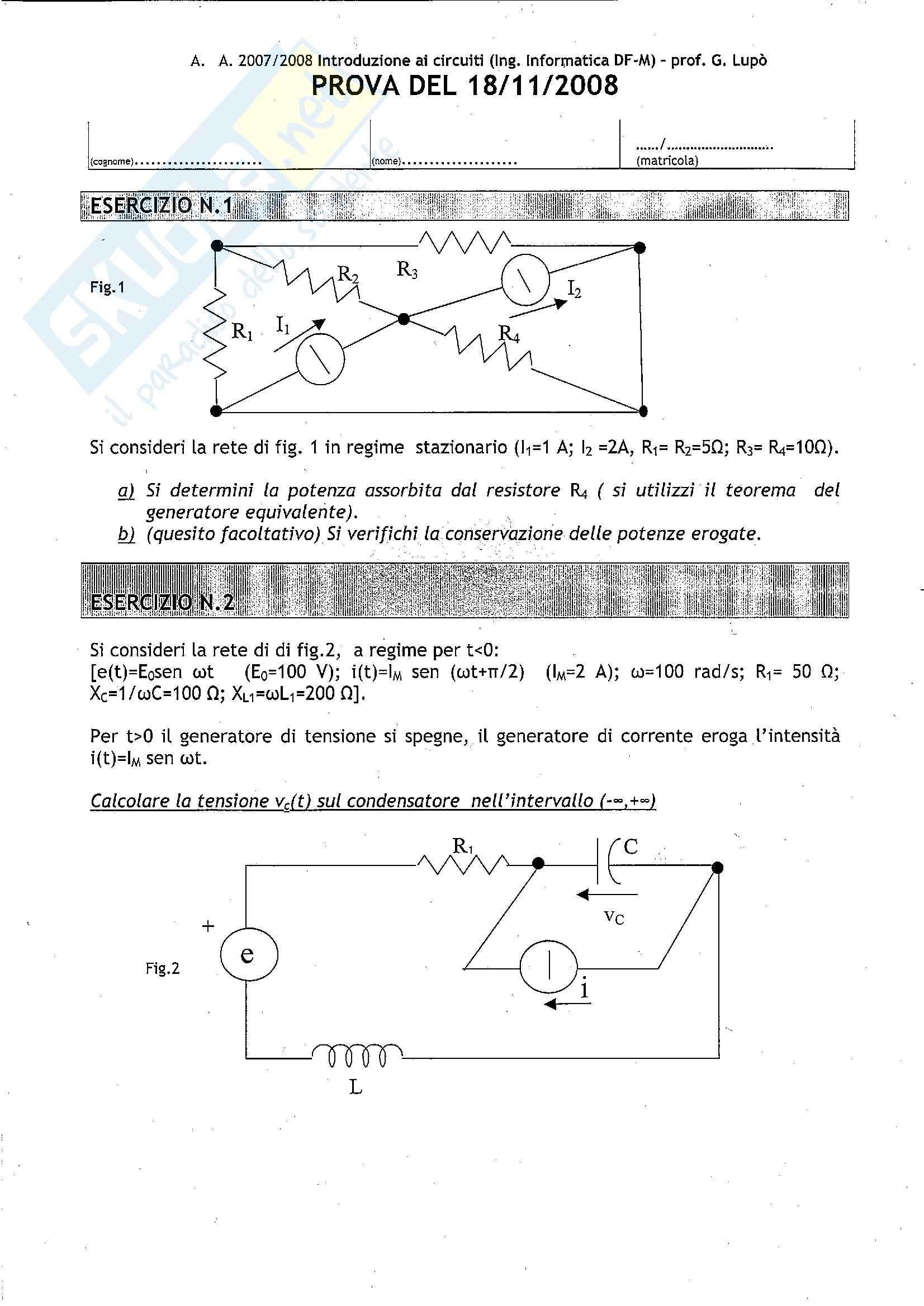 Introduzione ai circuiti - Esercizi