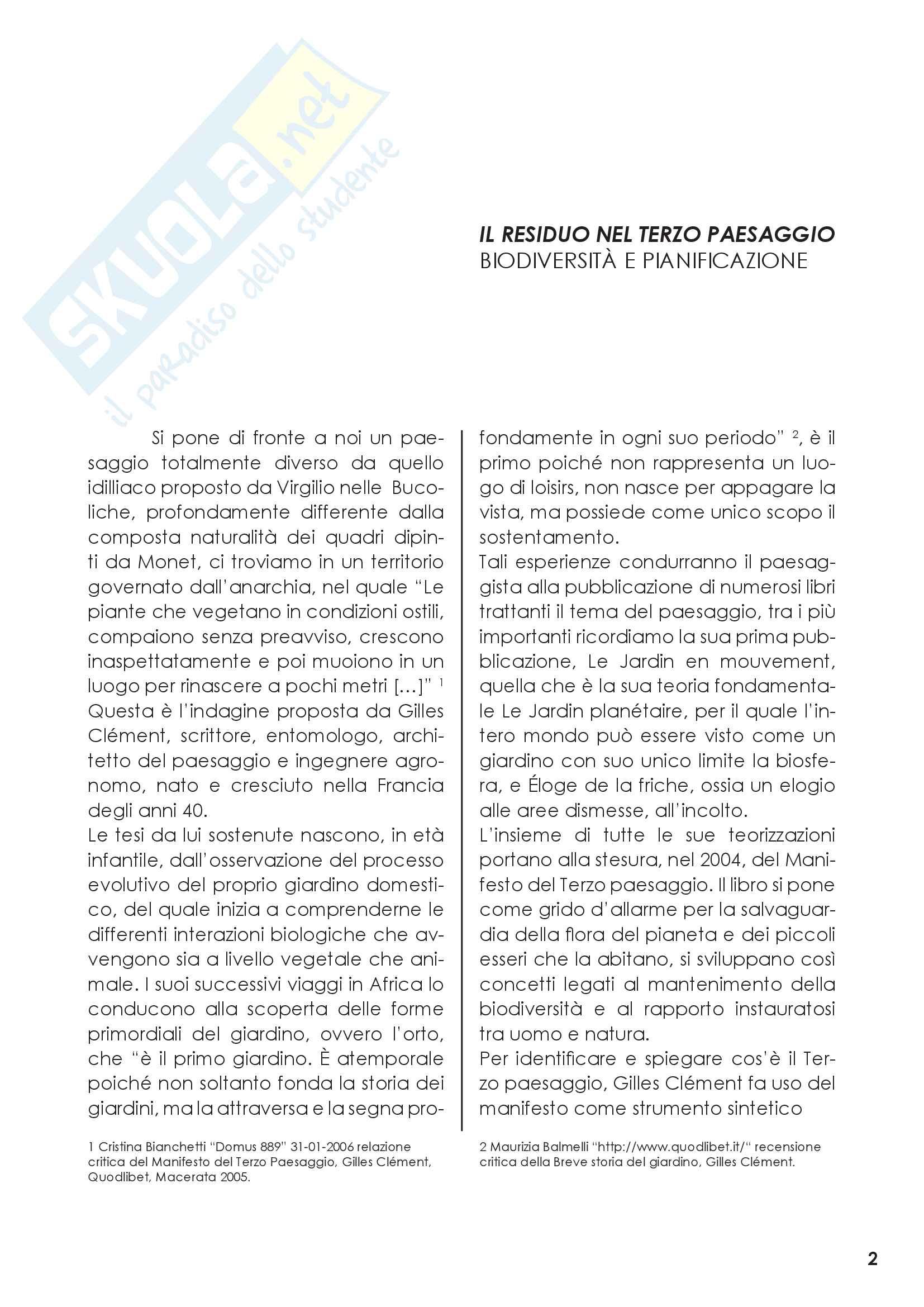 Relazione sul Terzo paesaggio, come identificato da Gilles Clement Pag. 2