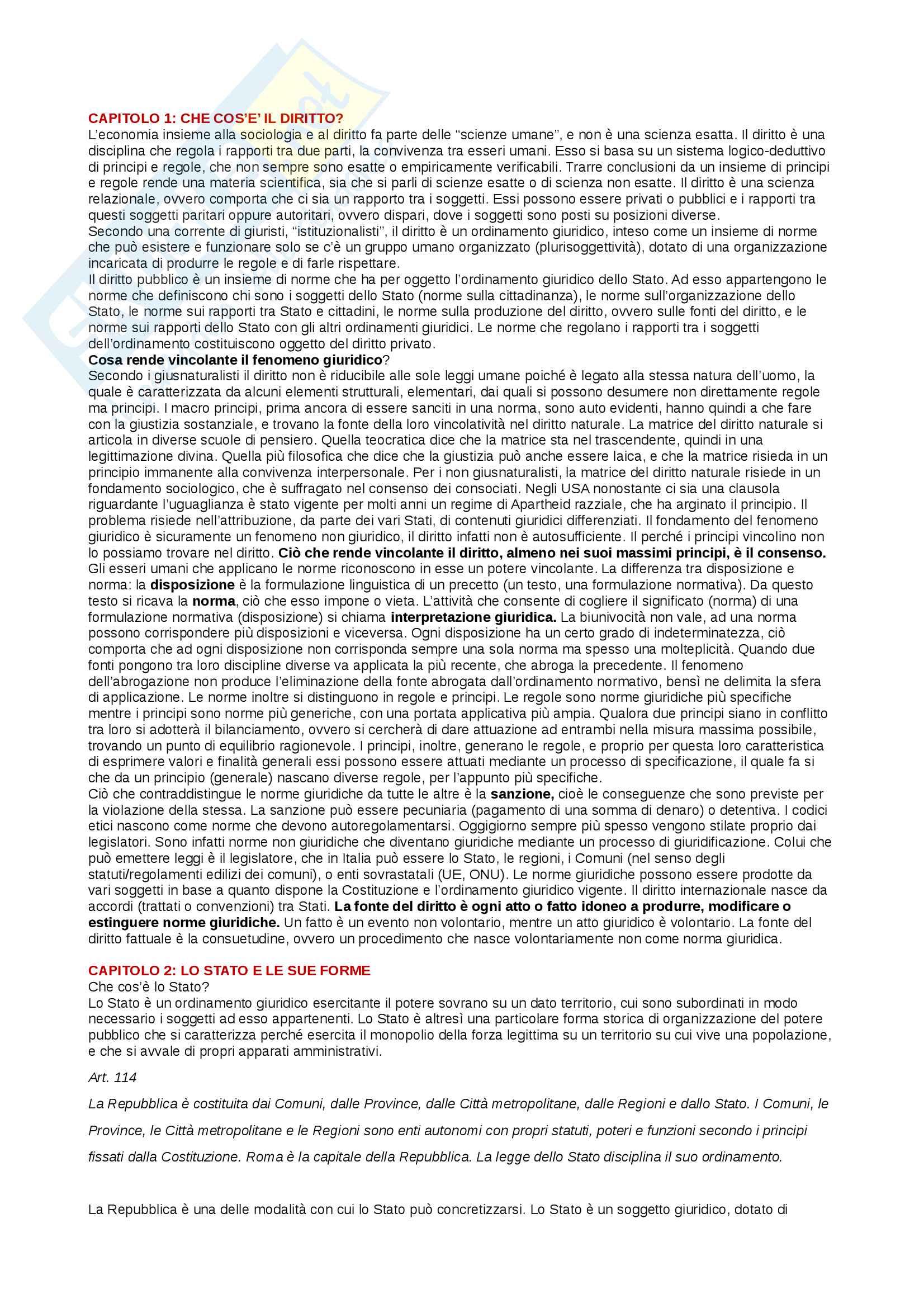 Riassunto esame di Diritto pubblico, Prof. Simonati, testo consigliato Introduzione allo studio del diritto pubblico e delle sue fonti, T. Groppi, A. Simoncini