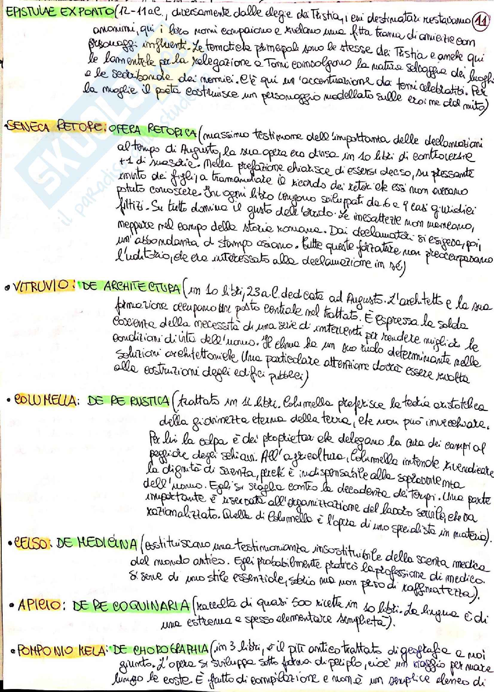 Riassunto esame Lingua e letteratura latina I, prof. Berno, libro consigliato Storia letteraria di Roma, P. Fedeli Pag. 11