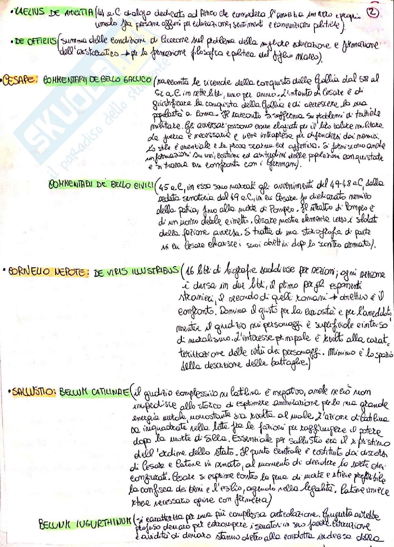 Riassunto esame Lingua e letteratura latina I, prof. Berno, libro consigliato Storia letteraria di Roma, P. Fedeli Pag. 2