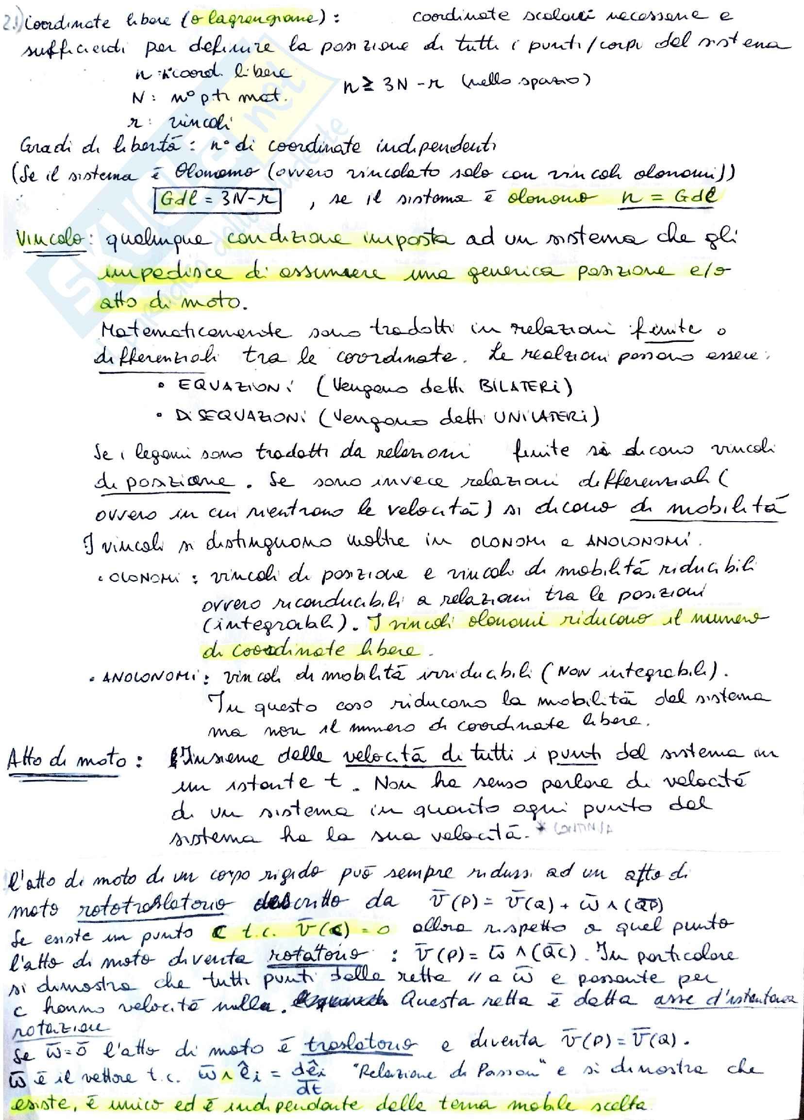 Riassunti Meccanica Razionale Pag. 2