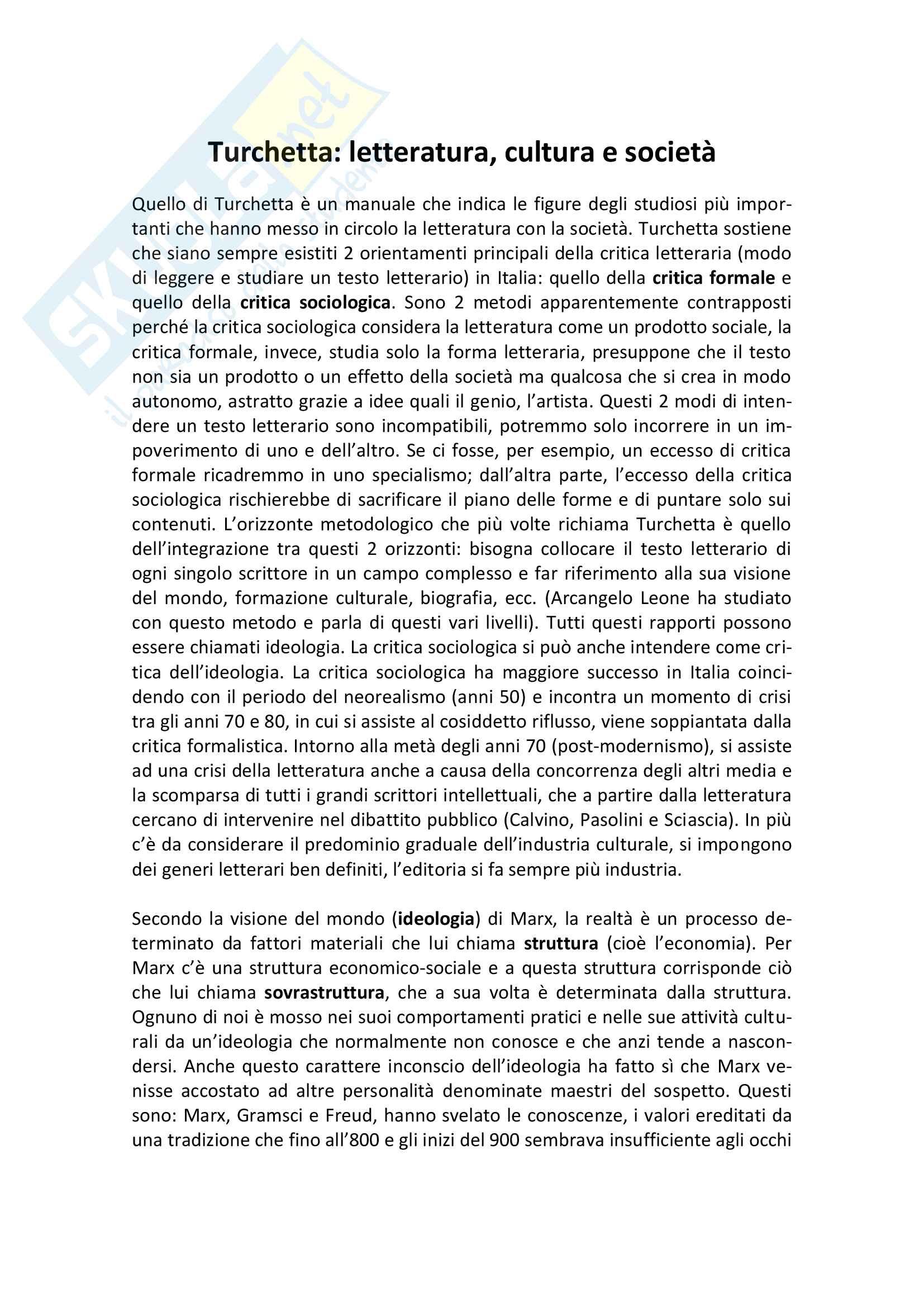 Riassunto esame Letteratura e Cultura nell'Italia Contemporanea, prof. Moliterni, libro consigliato Critica, letteratura e società, Turchetta + dispense + romanzi