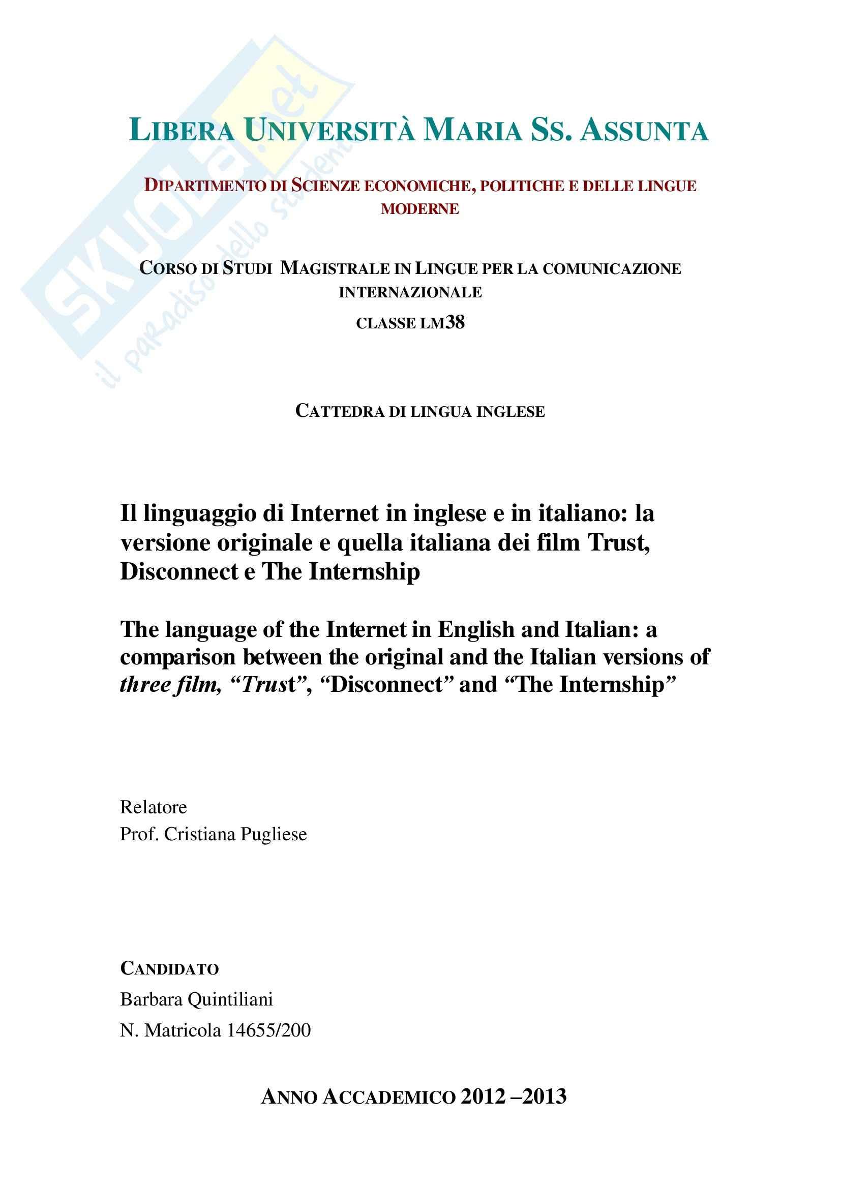 Linguaggio di Internet, Lingua inglese