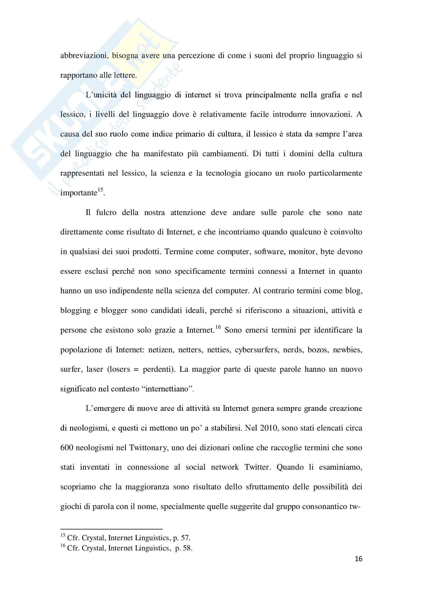 Linguaggio di Internet, Lingua inglese Pag. 16