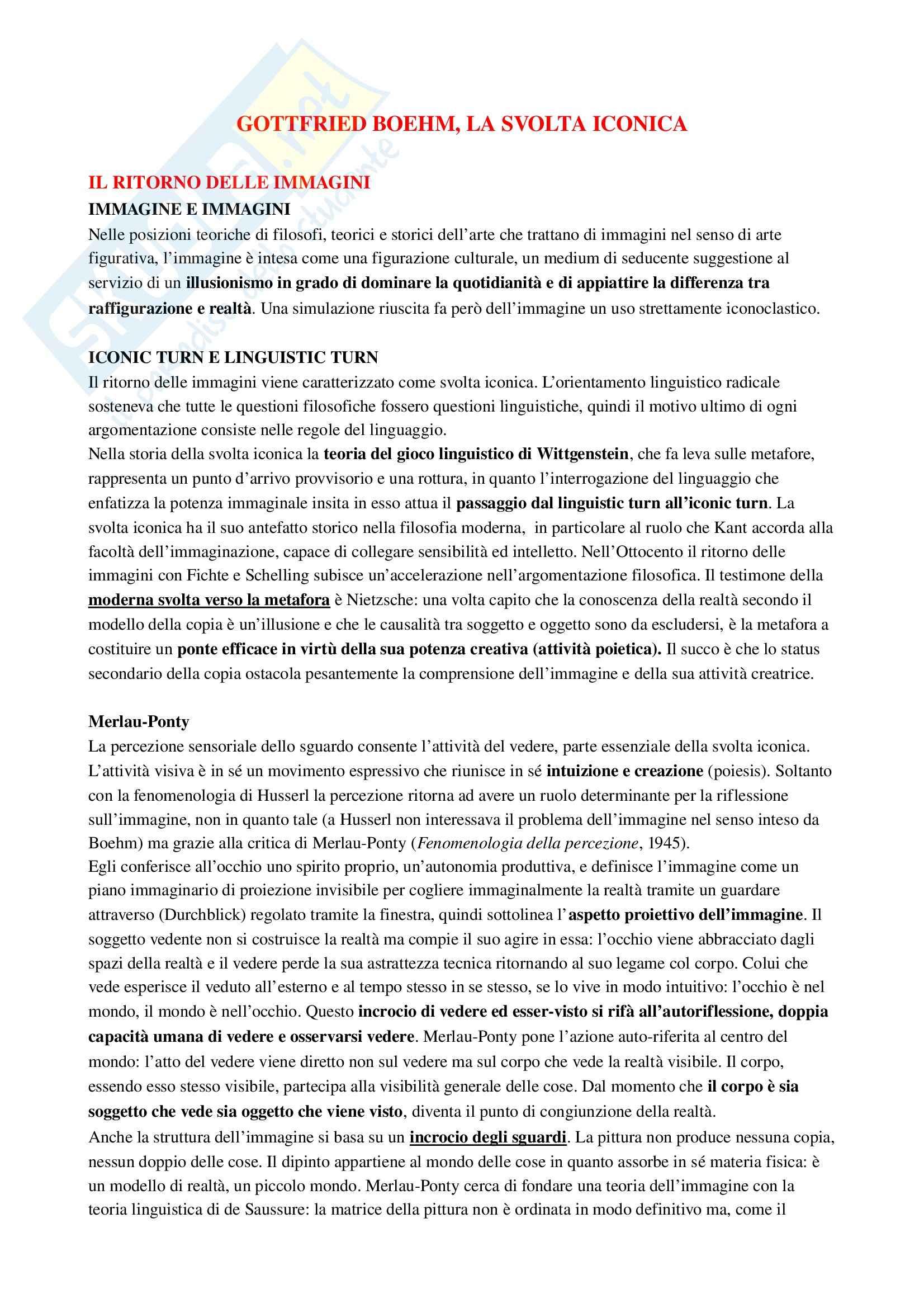 Riassunto esame Estetica, prof. Monaldi, libro consigliato La svolta iconica, Boehm