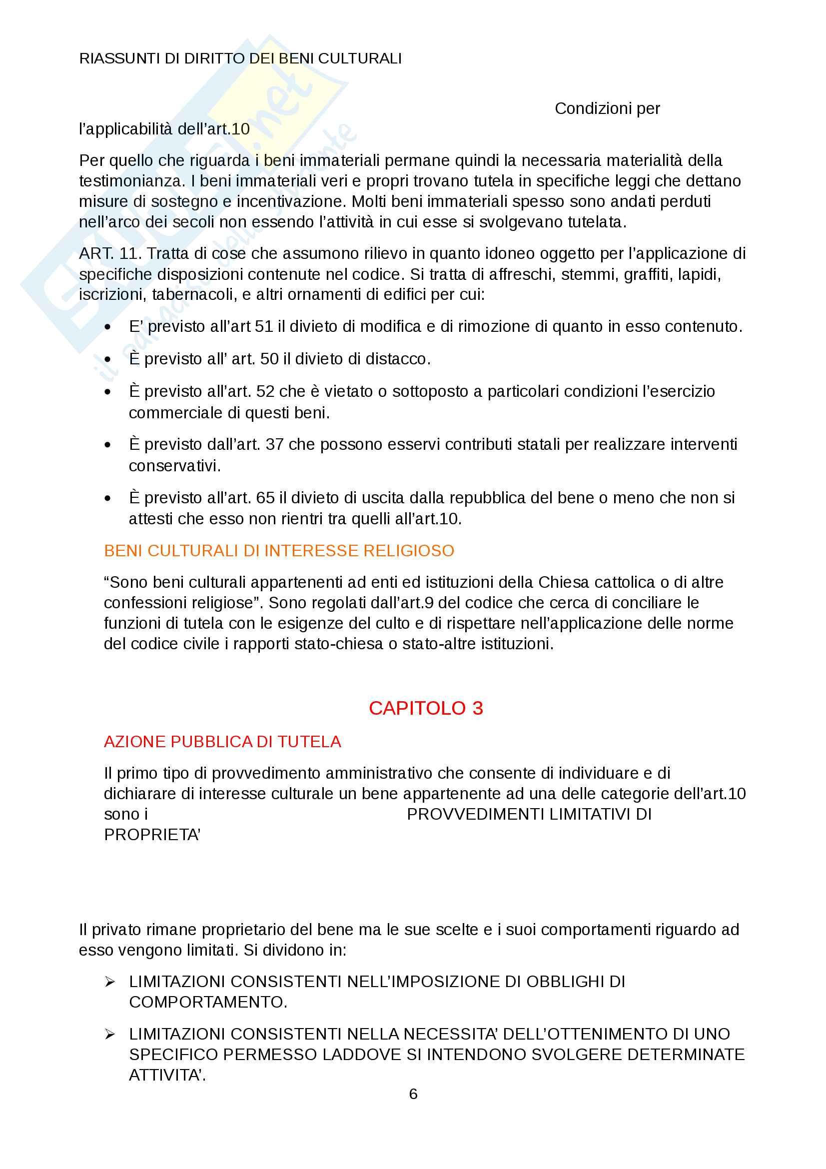 Riassunto esame legislazione dei beni culturali, prof. Videtta,libro consigliato beni culturali e paesaggistici Pag. 6