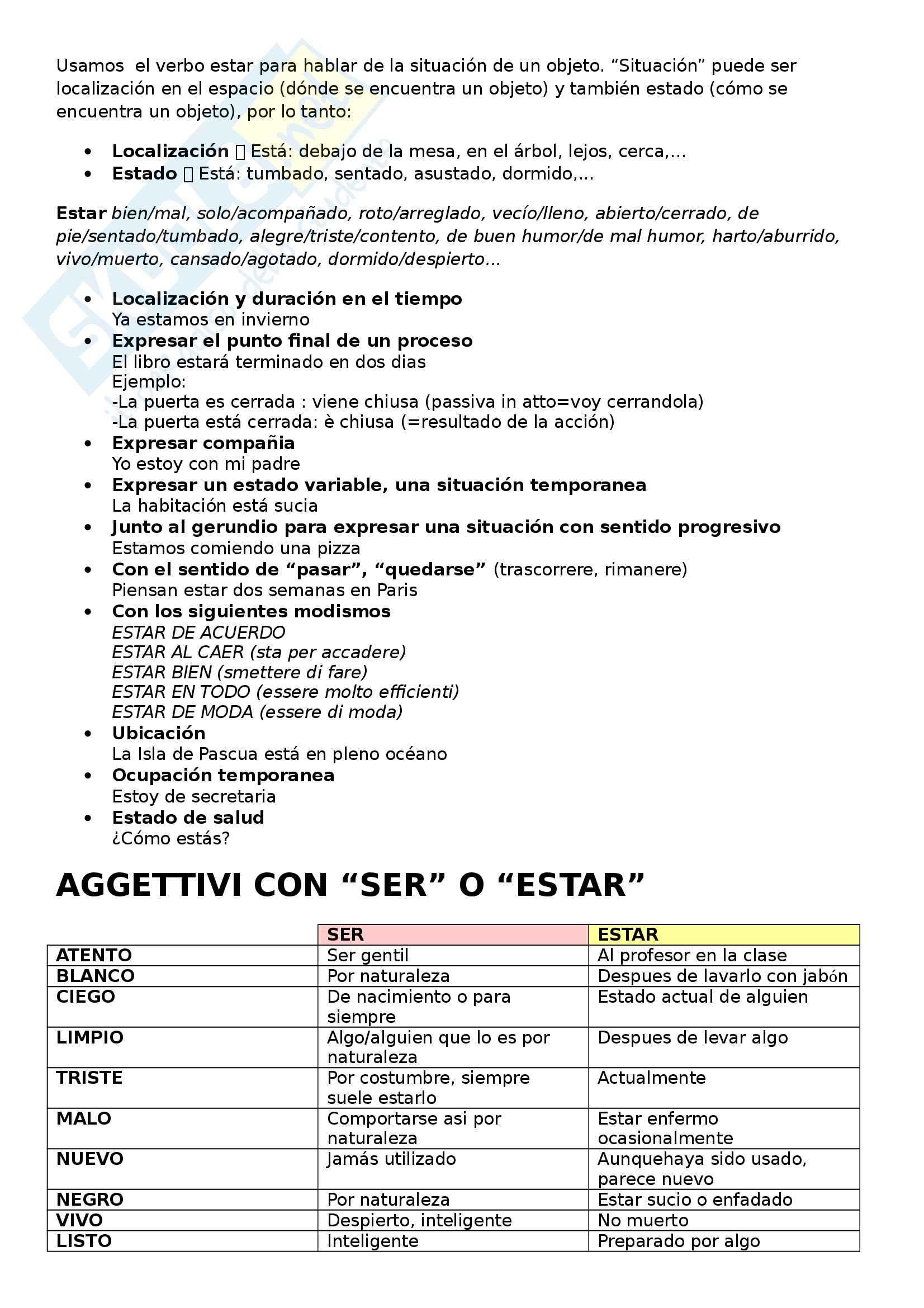 Lingua spagnola - Ser estar haber Pag. 2