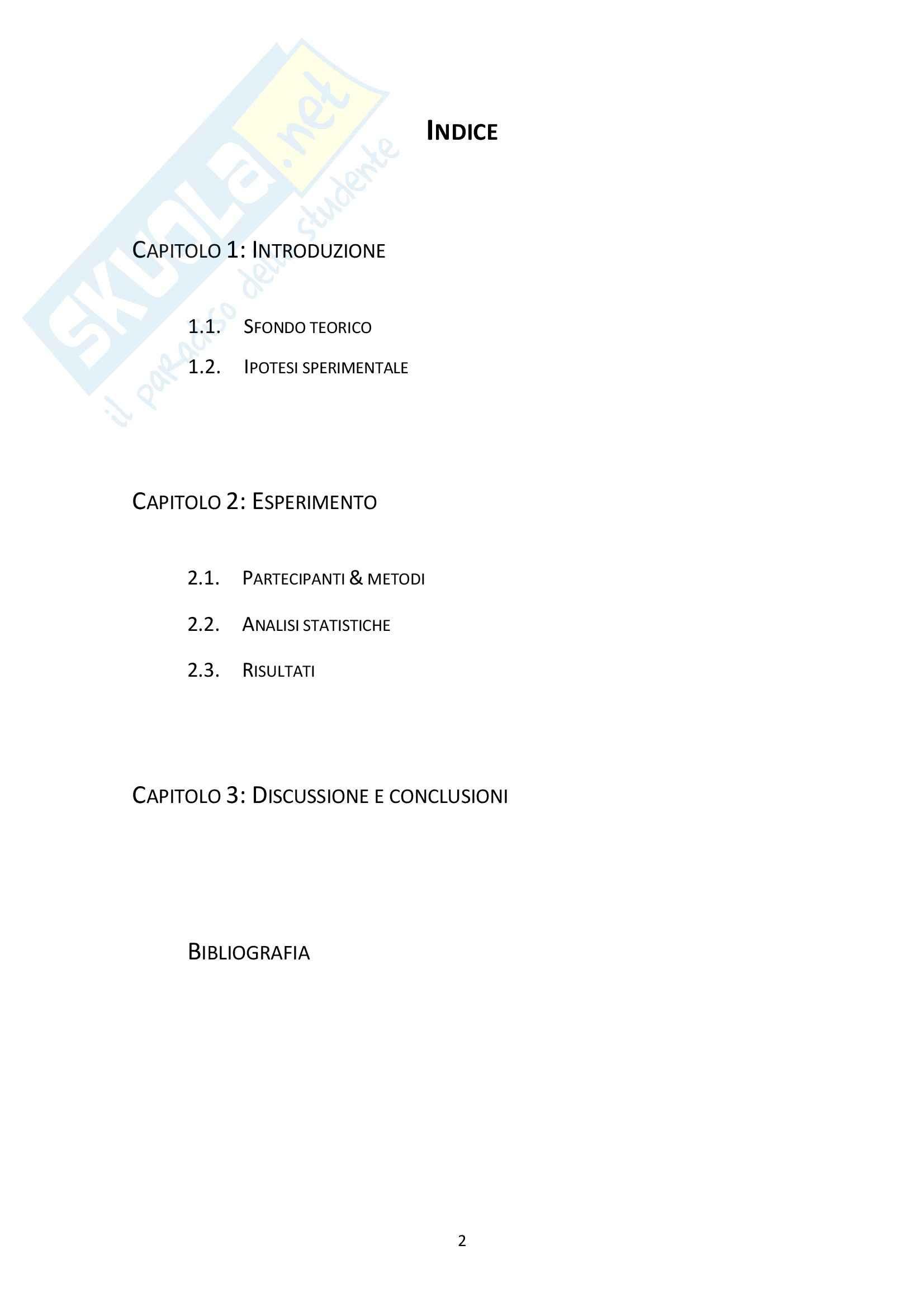 Tesi - Rappresentazione metrica di oggetti corporei ed extracorporei: uno studio sperimentale. Pag. 2