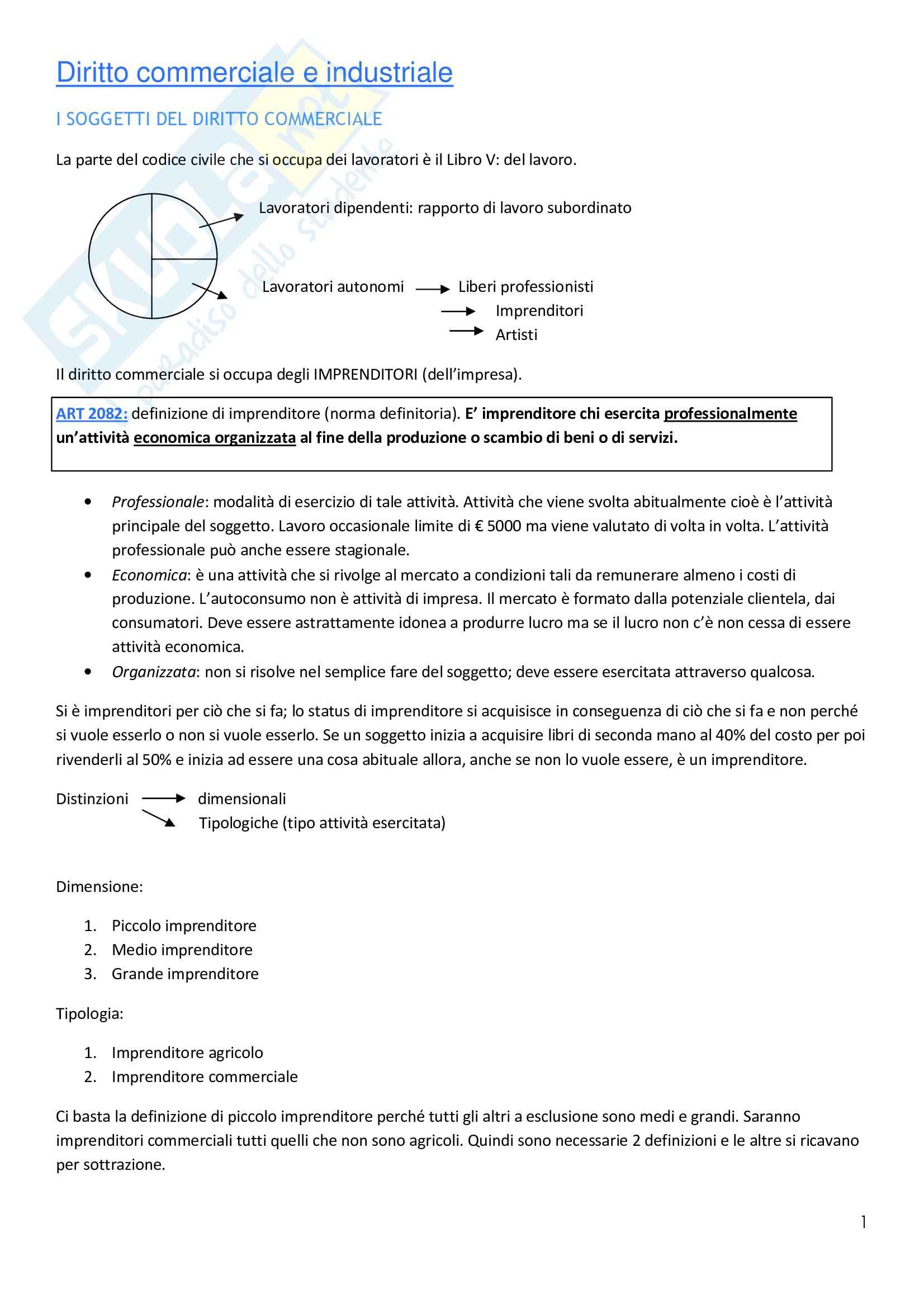 Diritto commerciale - Appunti Pag. 1
