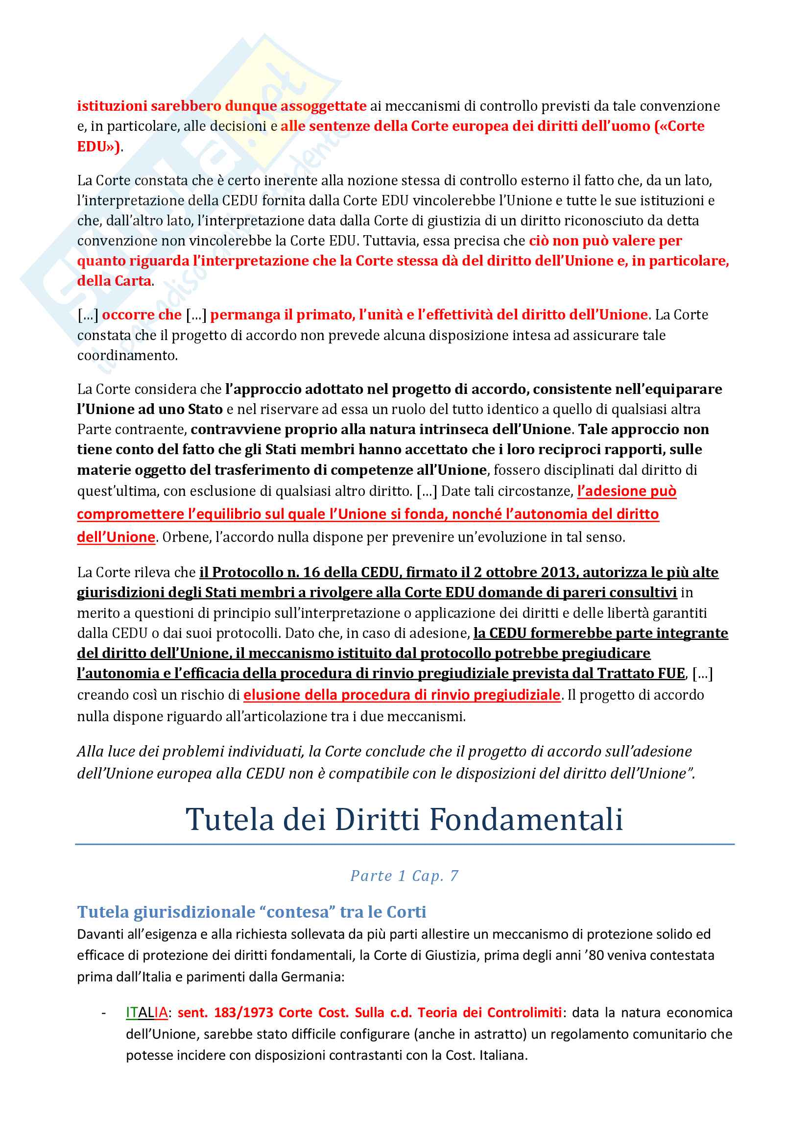 Riassunto esame di Diritto costituzionale 2 II, prof. P. Costanzo e L. Trucco, libro consigliato Lineamenti di diritto costituzionale dell'Unione Europea, P. Costanzo Pag. 61