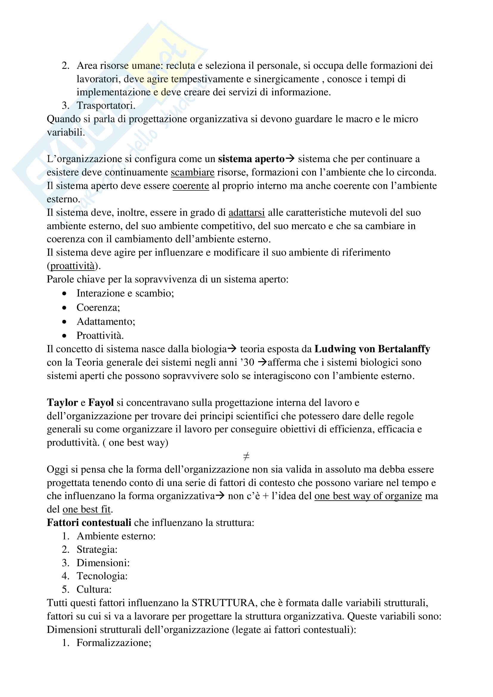 Appunti di Organizzazione Aziendale Pag. 2